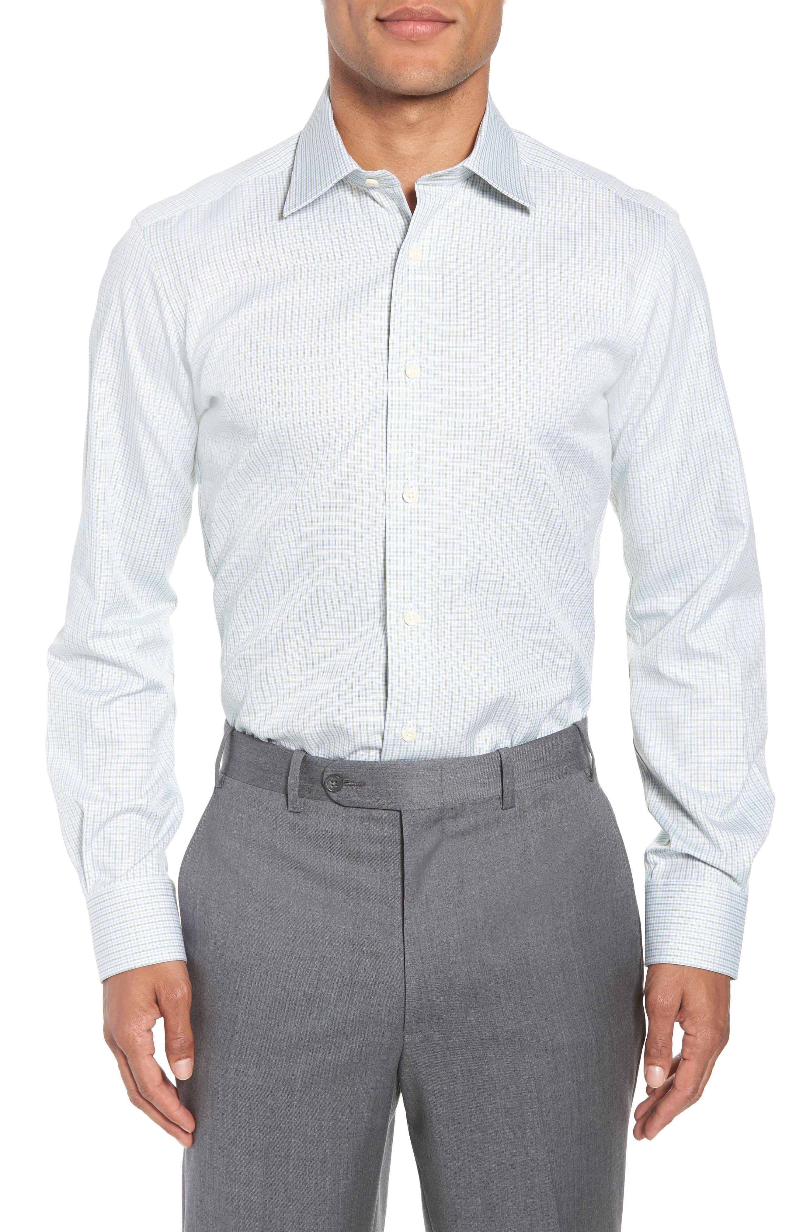 Trim Fit Check Dress Shirt,                             Main thumbnail 1, color,                             310