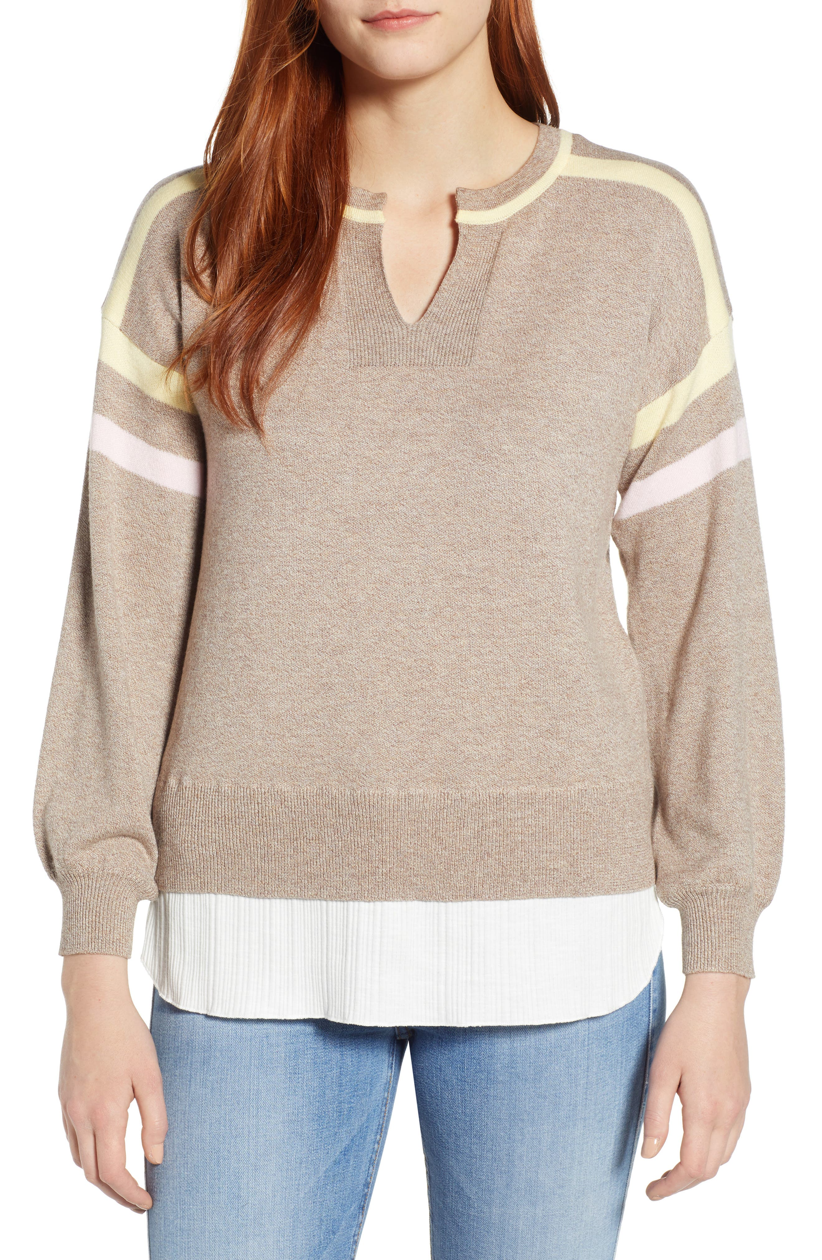 Layered Look Stripe Sweater,                             Main thumbnail 1, color,                             HEATHER CLOVE