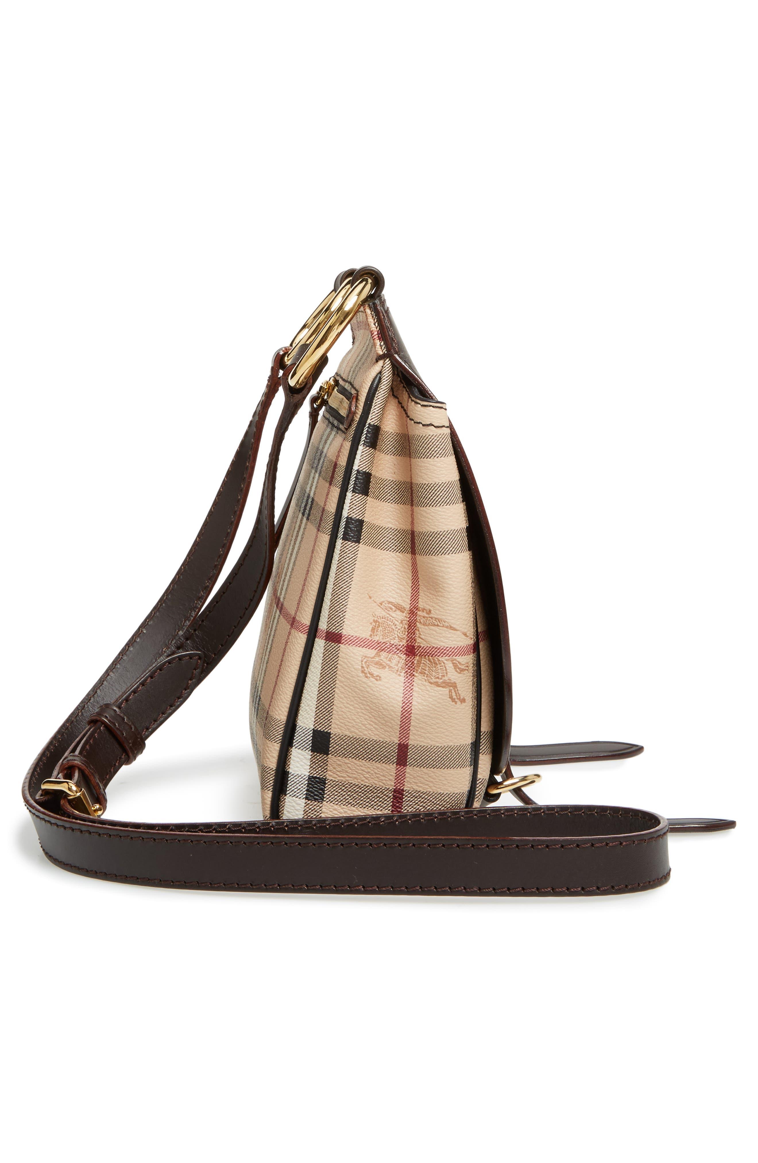 Bridle Leather & Check Shoulder Bag,                             Alternate thumbnail 5, color,                             208