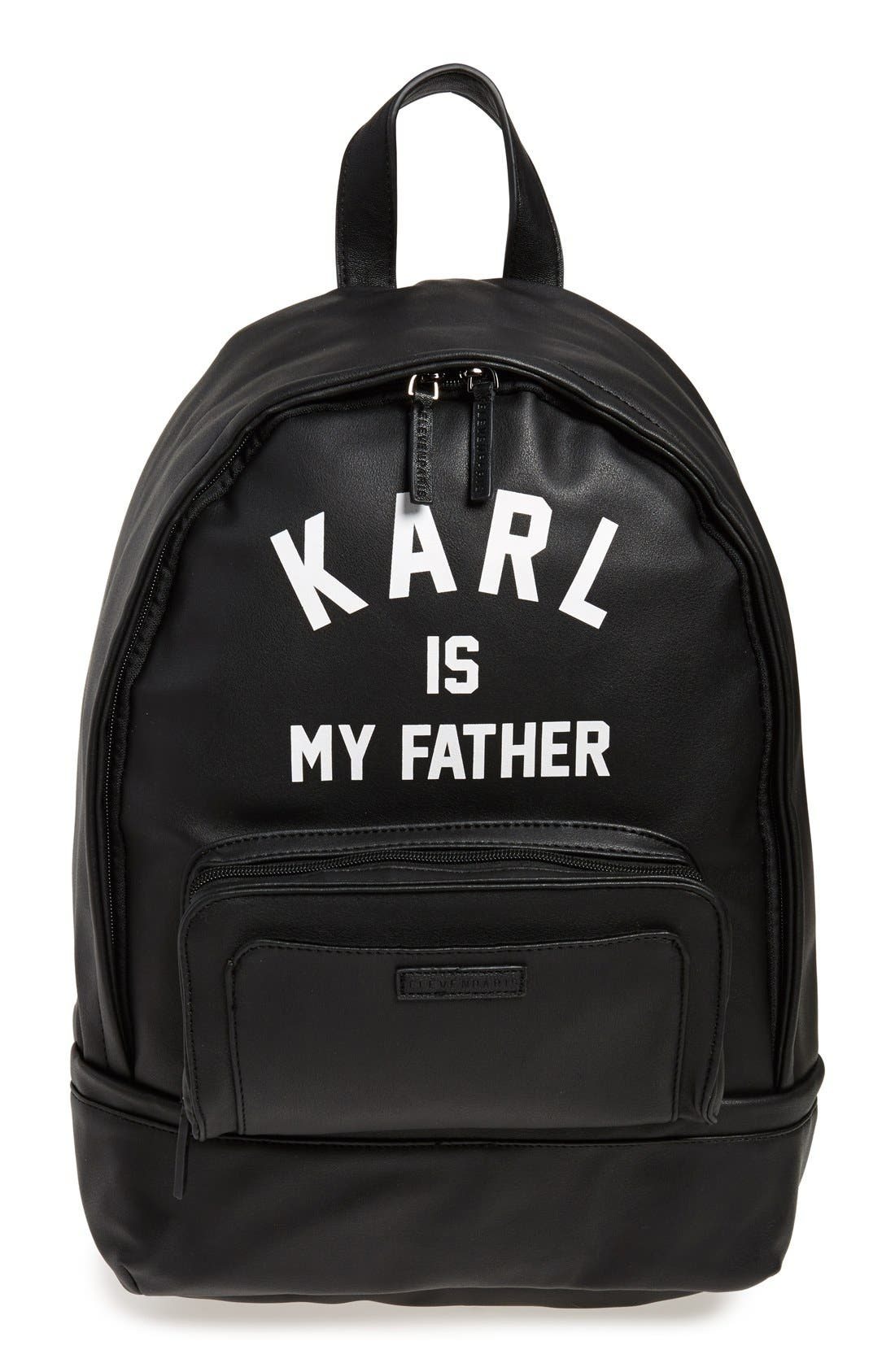 'Karl is My Father' Faux-Leather Backpack with Rain Cover, Main, color, 001