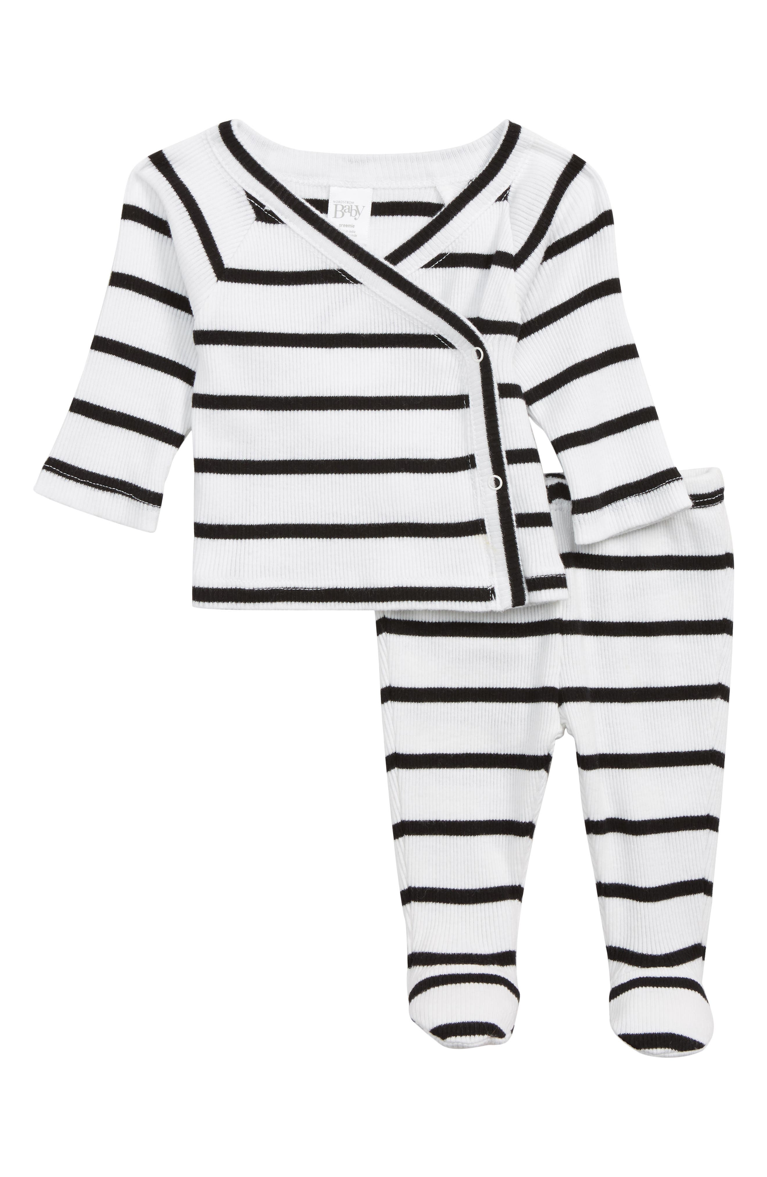 Wrap Top & Footed Pants Set,                             Main thumbnail 1, color,                             WHITE- BLACK BRETON STRIPE