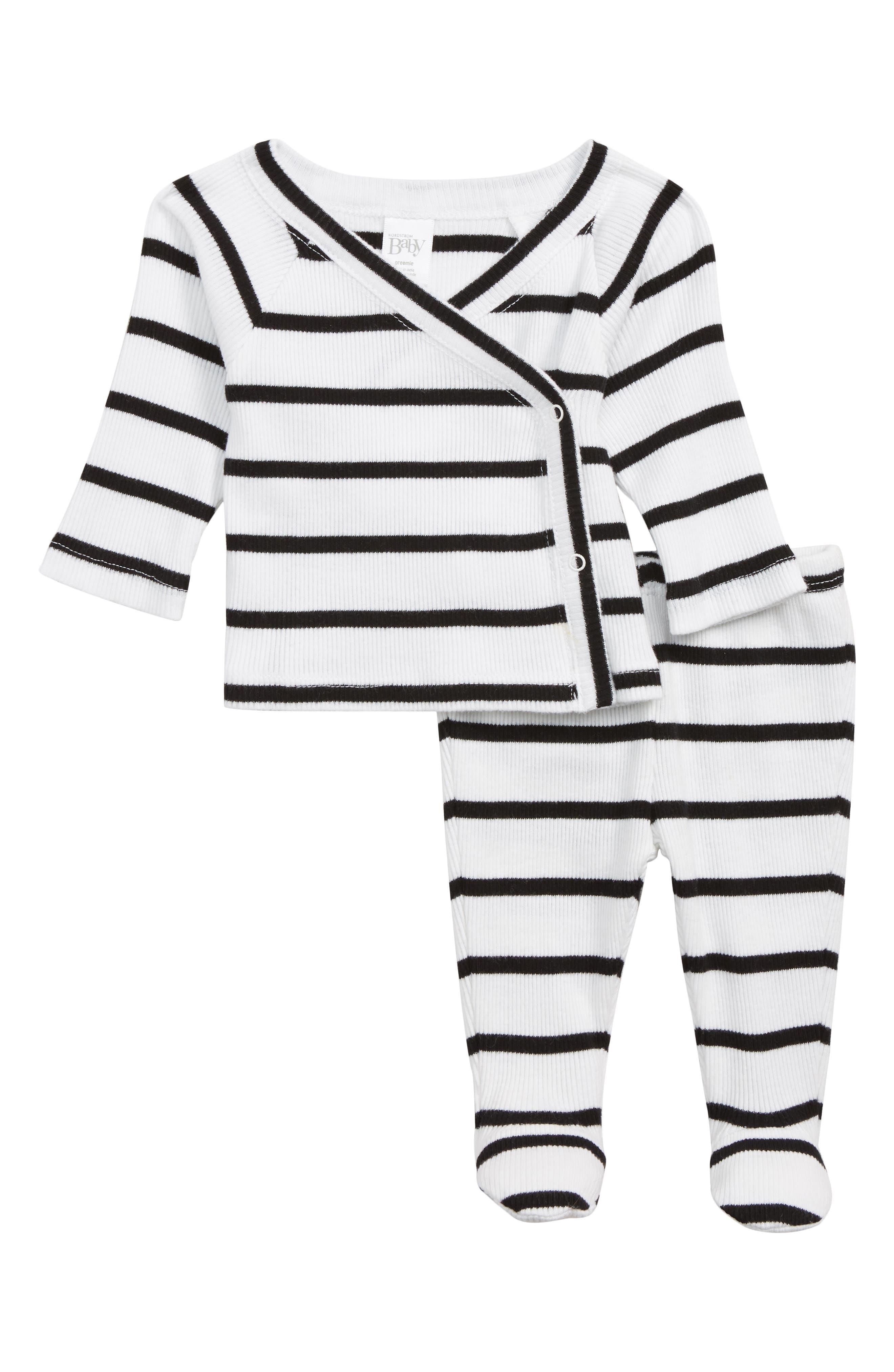 Wrap Top & Footed Pants Set,                         Main,                         color, WHITE- BLACK BRETON STRIPE