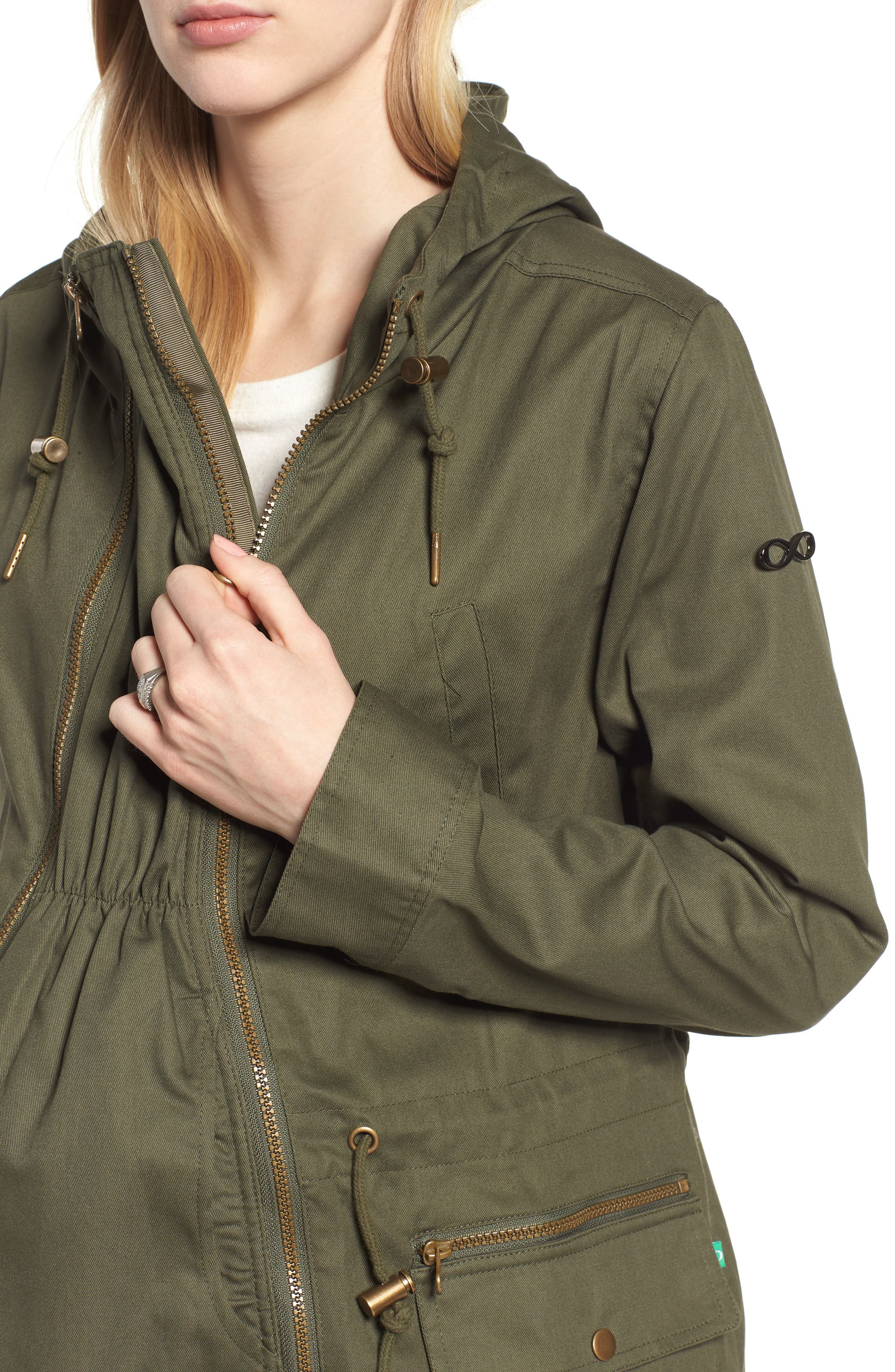 Convertible Military 3-in-1 Maternity/Nursing Jacket,                             Alternate thumbnail 5, color,                             KHAKI GREEN