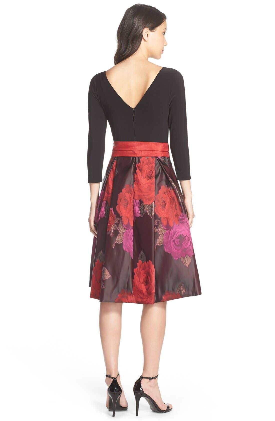 Floral Jacquard Fit & Flare Dress,                             Alternate thumbnail 3, color,                             014
