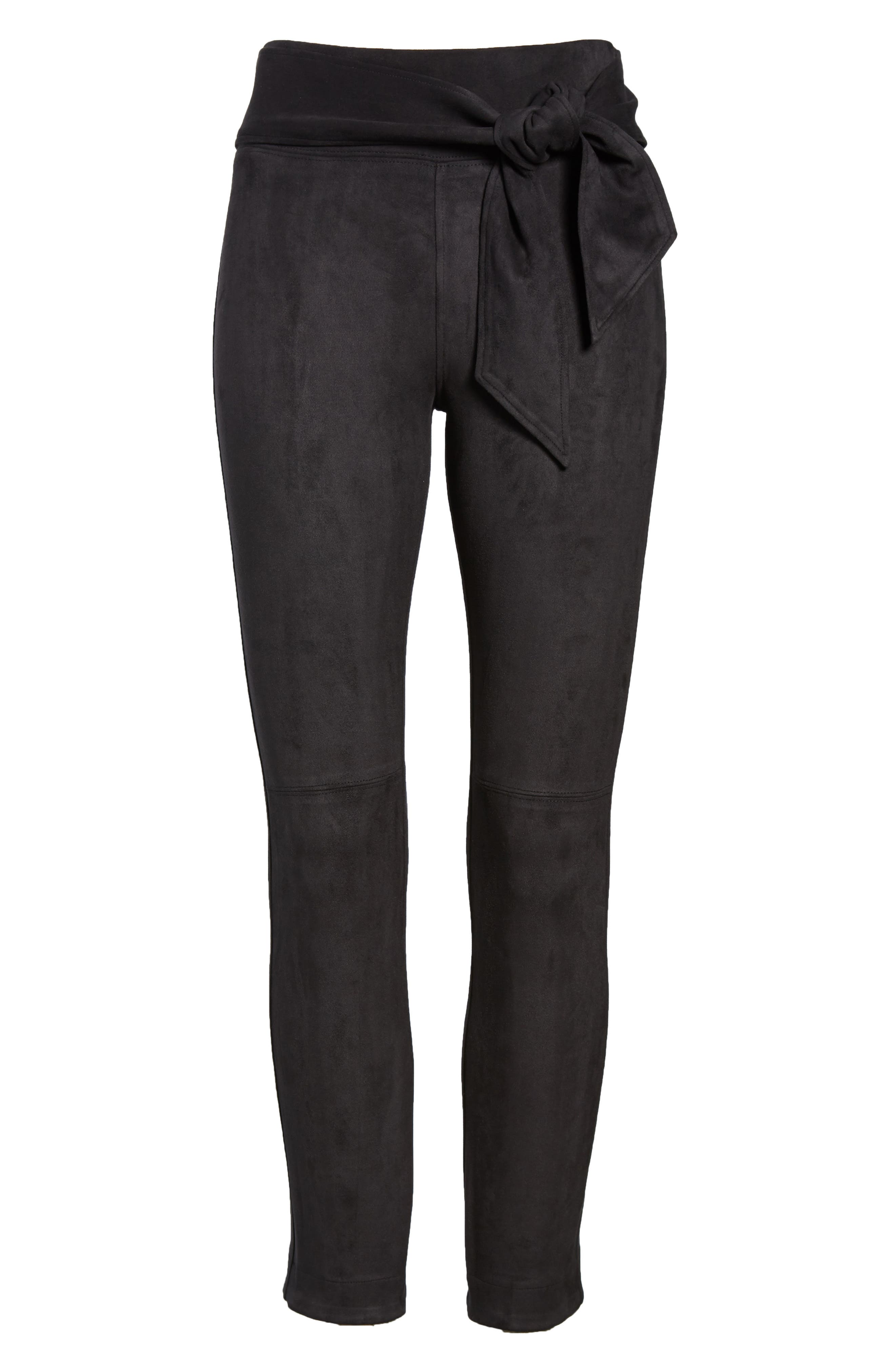 Waist Tie Skimmer Leggings,                             Alternate thumbnail 6, color,                             BLACK