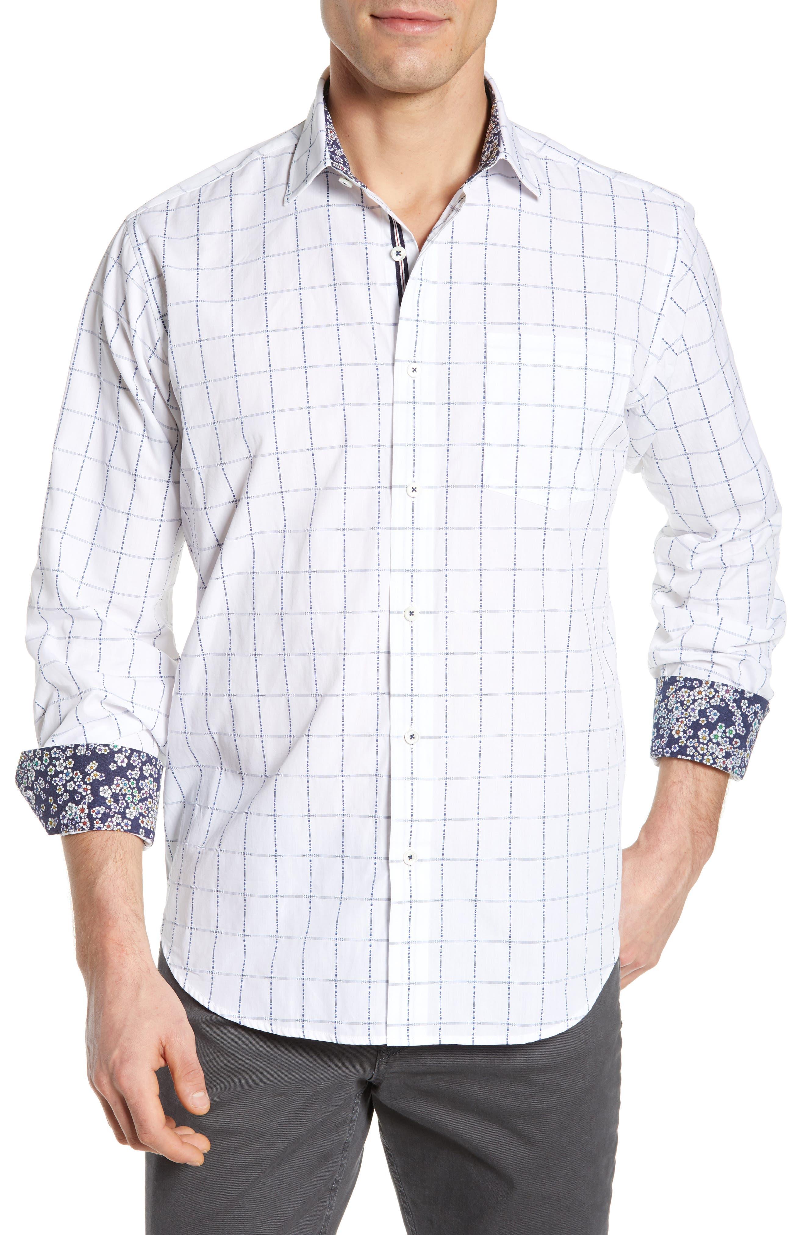 BUGATCHI Classic Fit Grid Sport Shirt, Main, color, SNOW