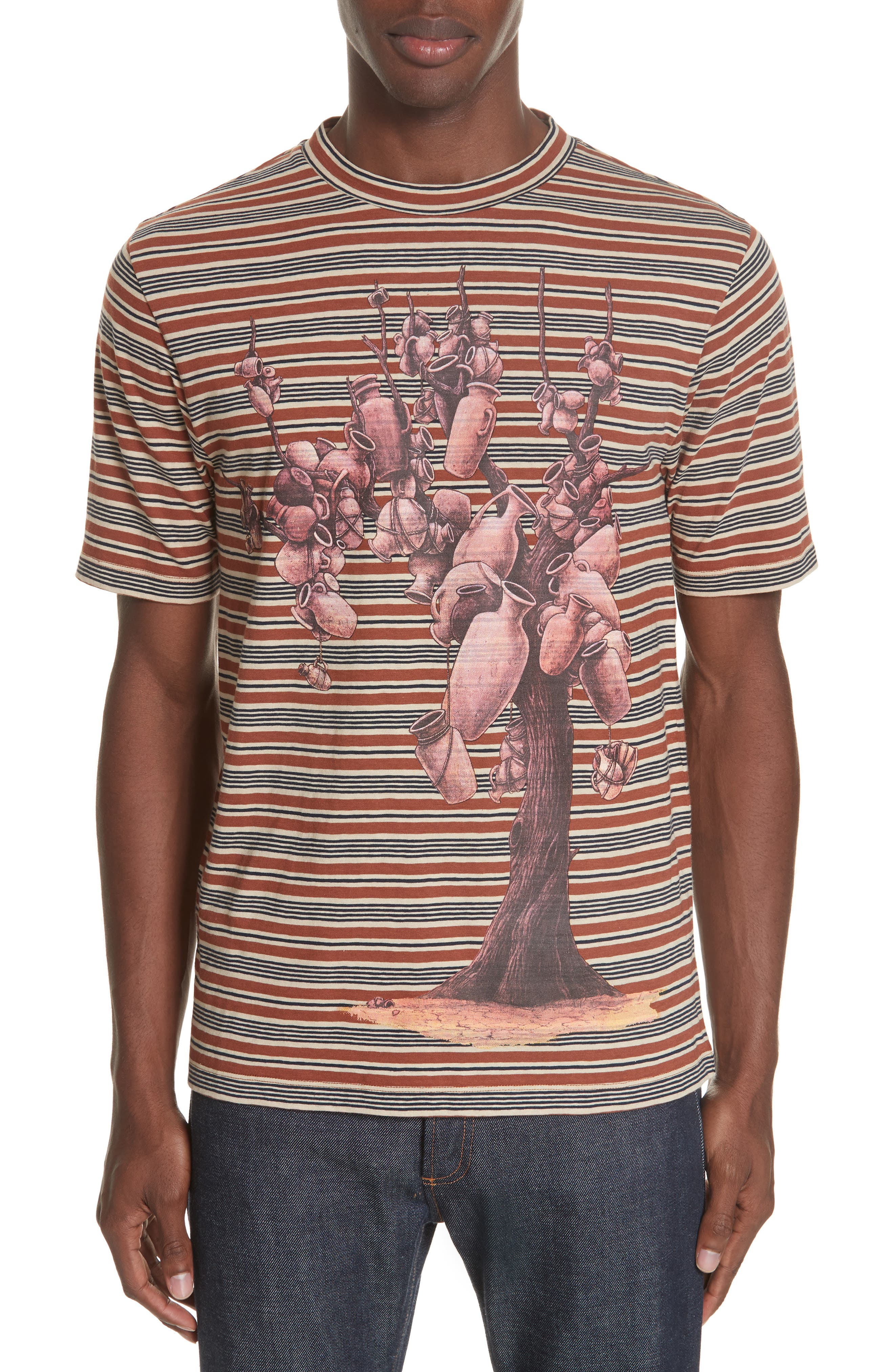 Stripe Pottery Tree T-Shirt,                         Main,                         color, BRICK RED