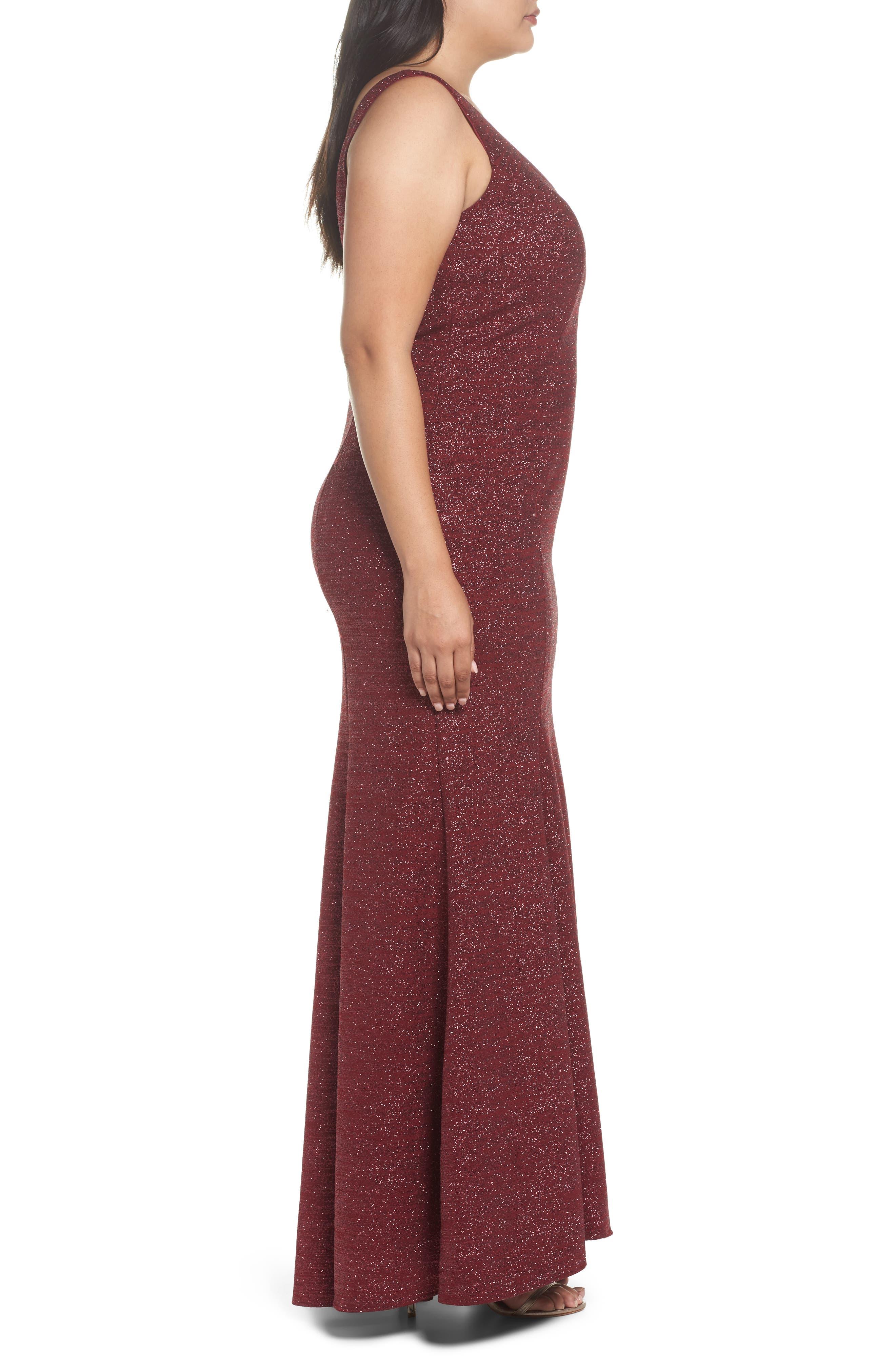 Metallic Knit Mermaid Gown,                             Alternate thumbnail 3, color,                             600