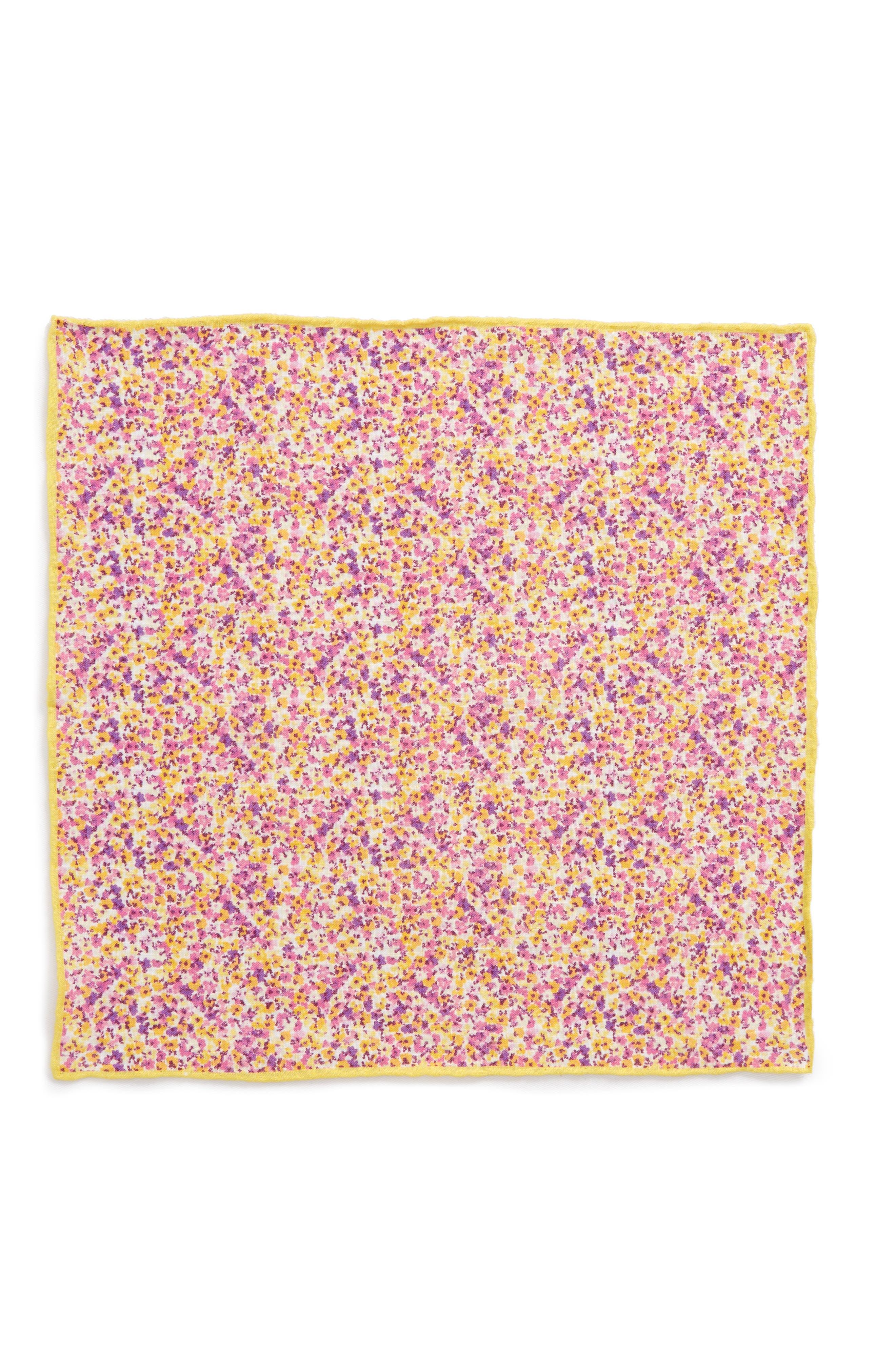 Walden Floral Linen Pocket Square,                             Alternate thumbnail 4, color,