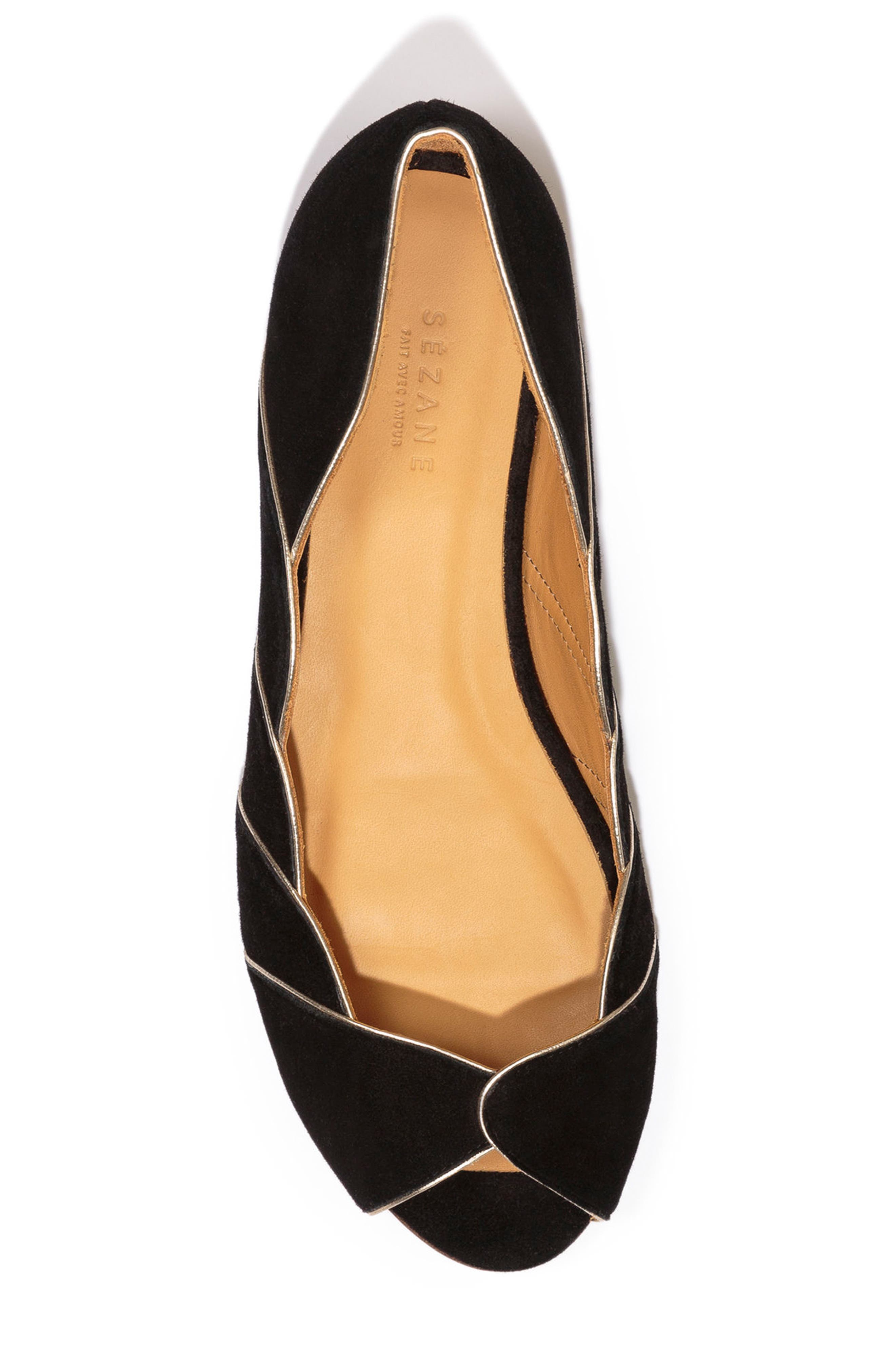 Suzanne Peep Toe Flat,                             Alternate thumbnail 4, color,                             BLACK/ GOLD SUEDE