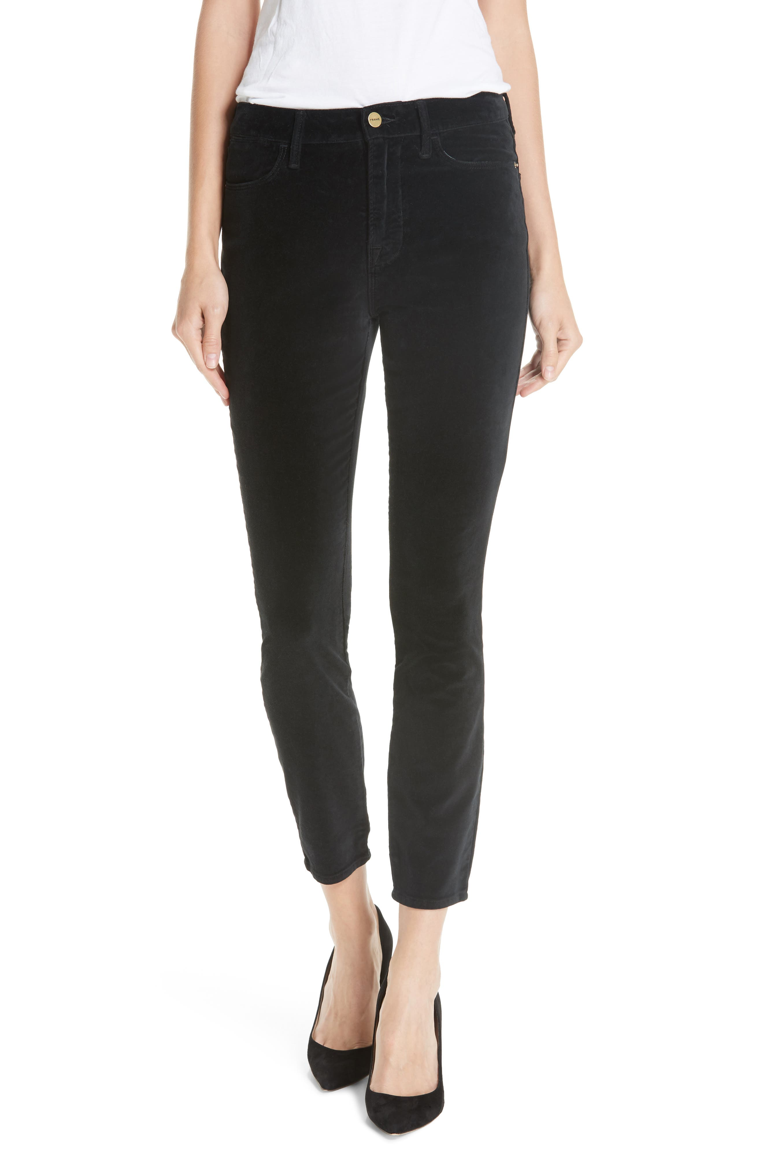 Velveteen High Waist Ankle Skinny Pants,                             Main thumbnail 1, color,                             NOIR