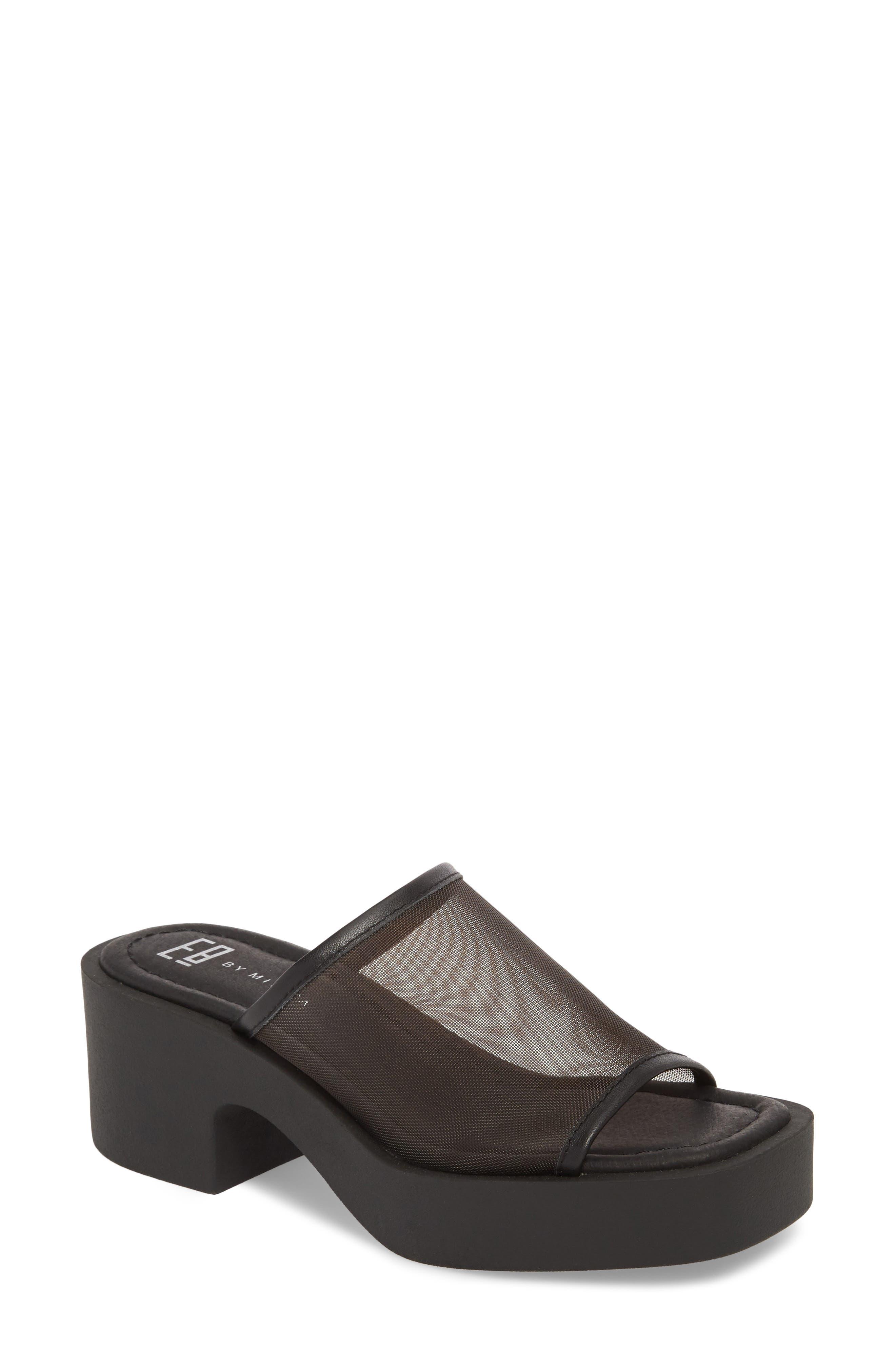 Layla Mesh Sandal,                         Main,                         color, BLACK MESH FABRIC