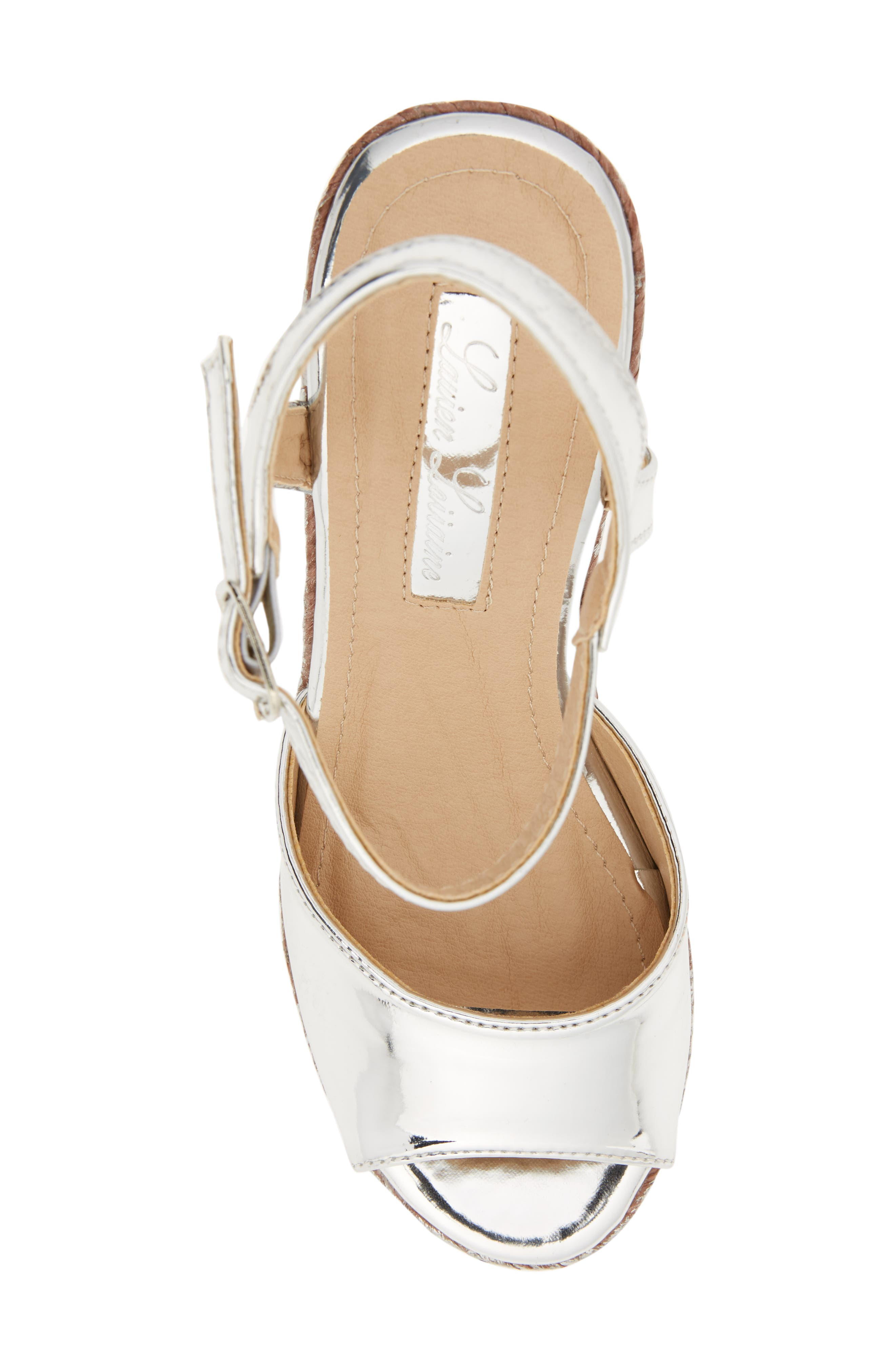Lina Platform Wedge Sandal,                             Alternate thumbnail 5, color,                             SILVER