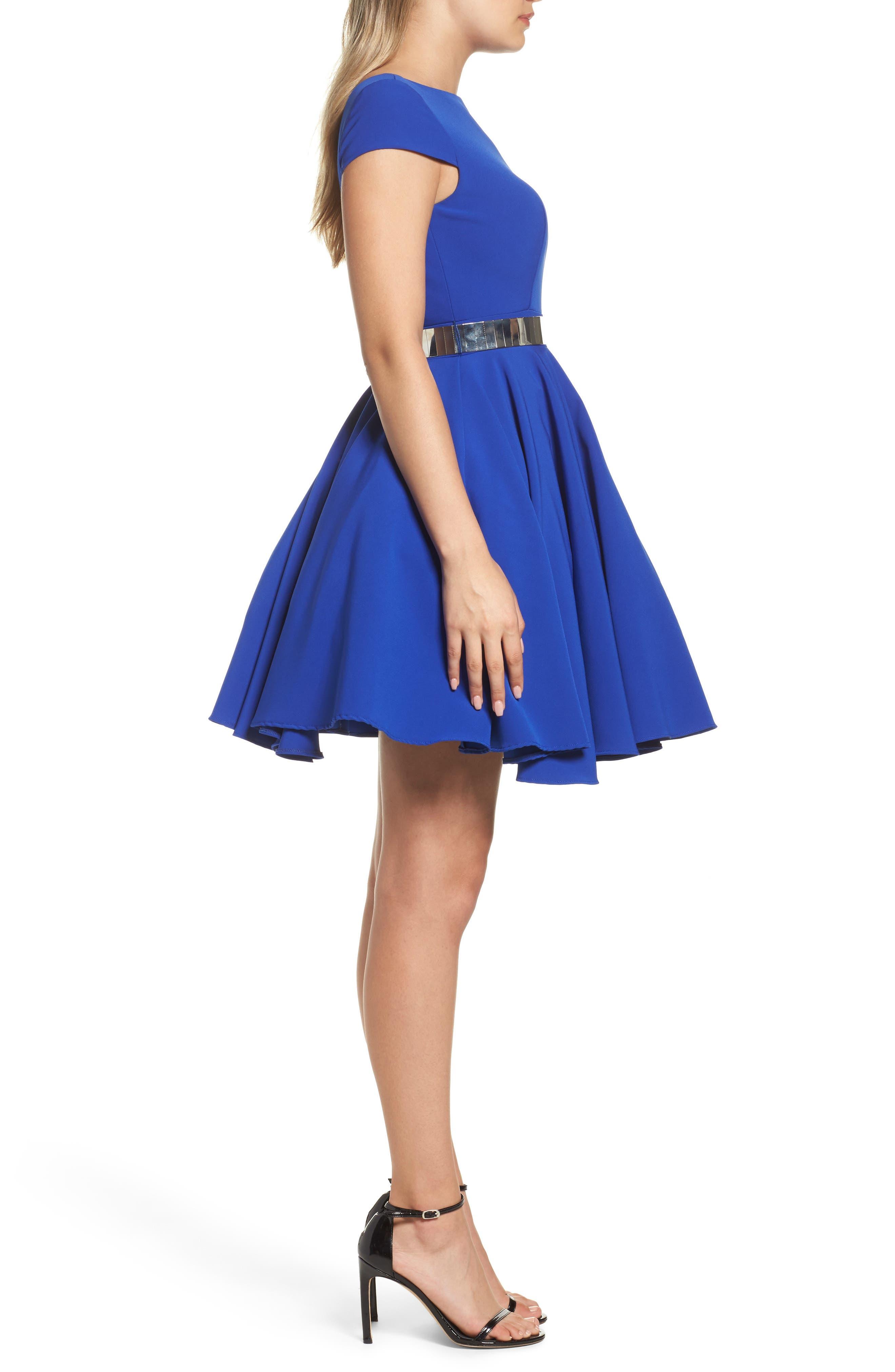Belted Open Back Fit & Flare Dress,                             Alternate thumbnail 3, color,                             465