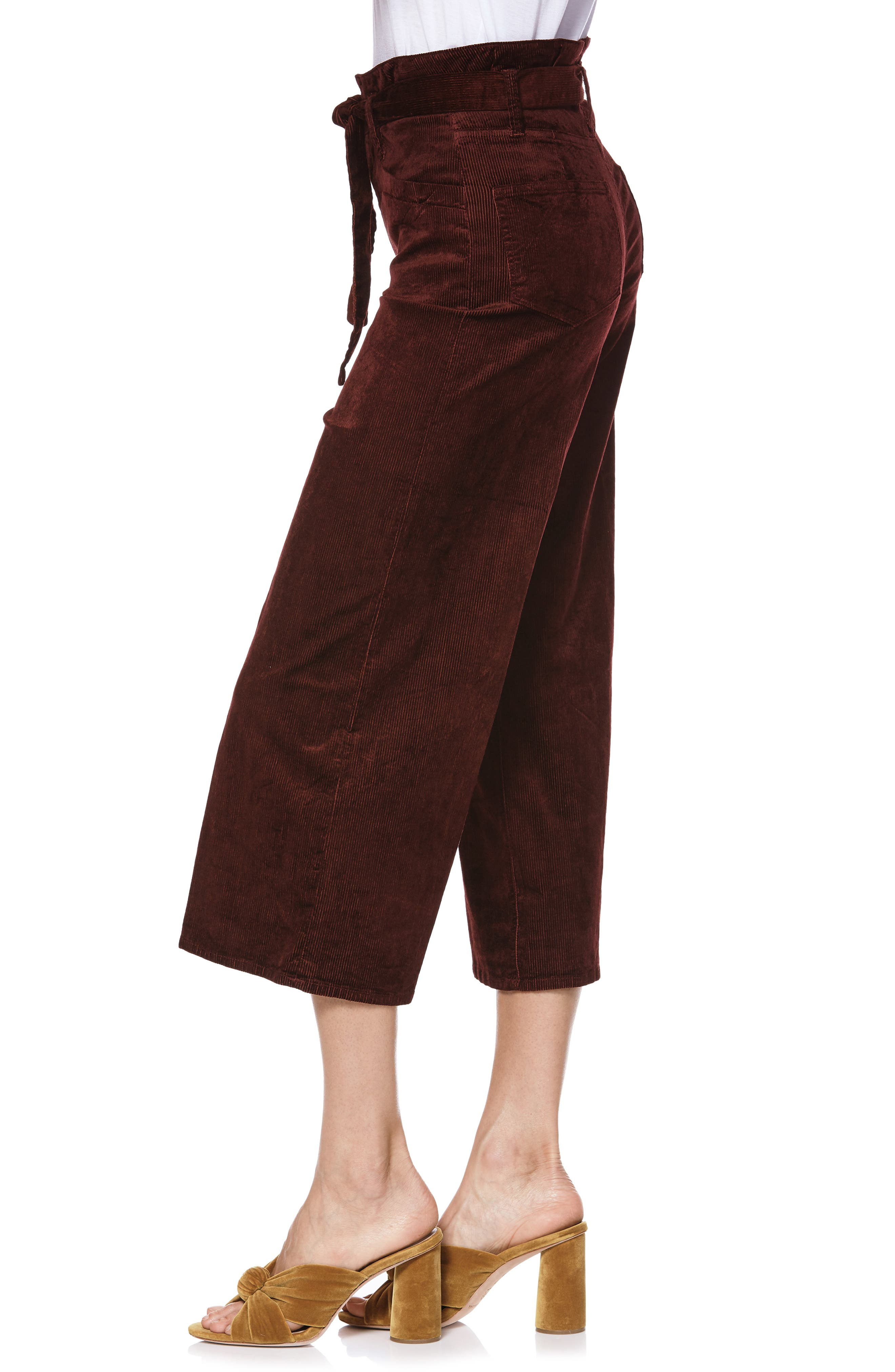 Sutton Paperbag Crop Wide Leg Corduroy Pants,                             Alternate thumbnail 3, color,                             DARK CURRANT