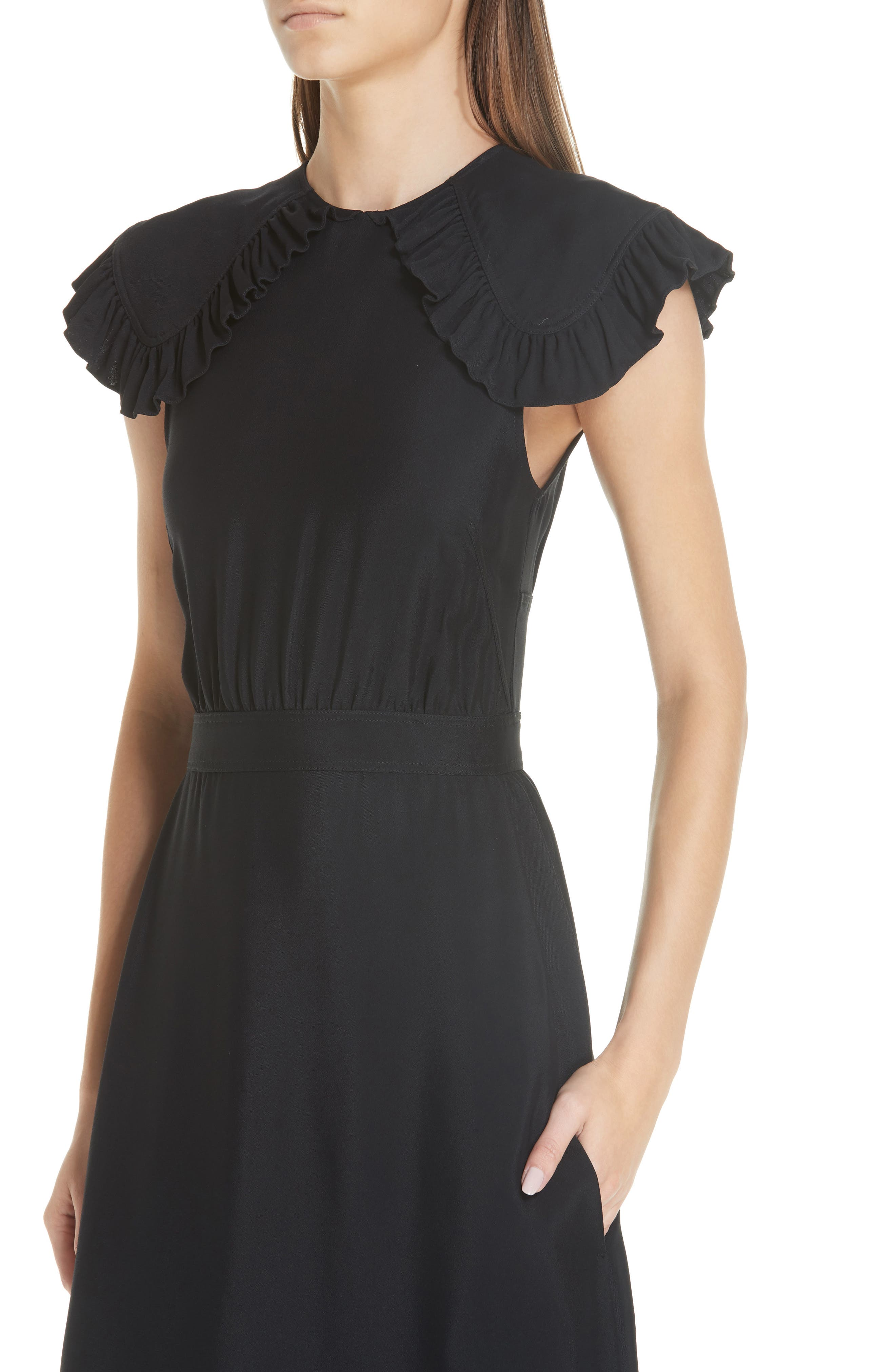 Cady Ruffle Pioneer Dress,                             Alternate thumbnail 4, color,                             BLACK
