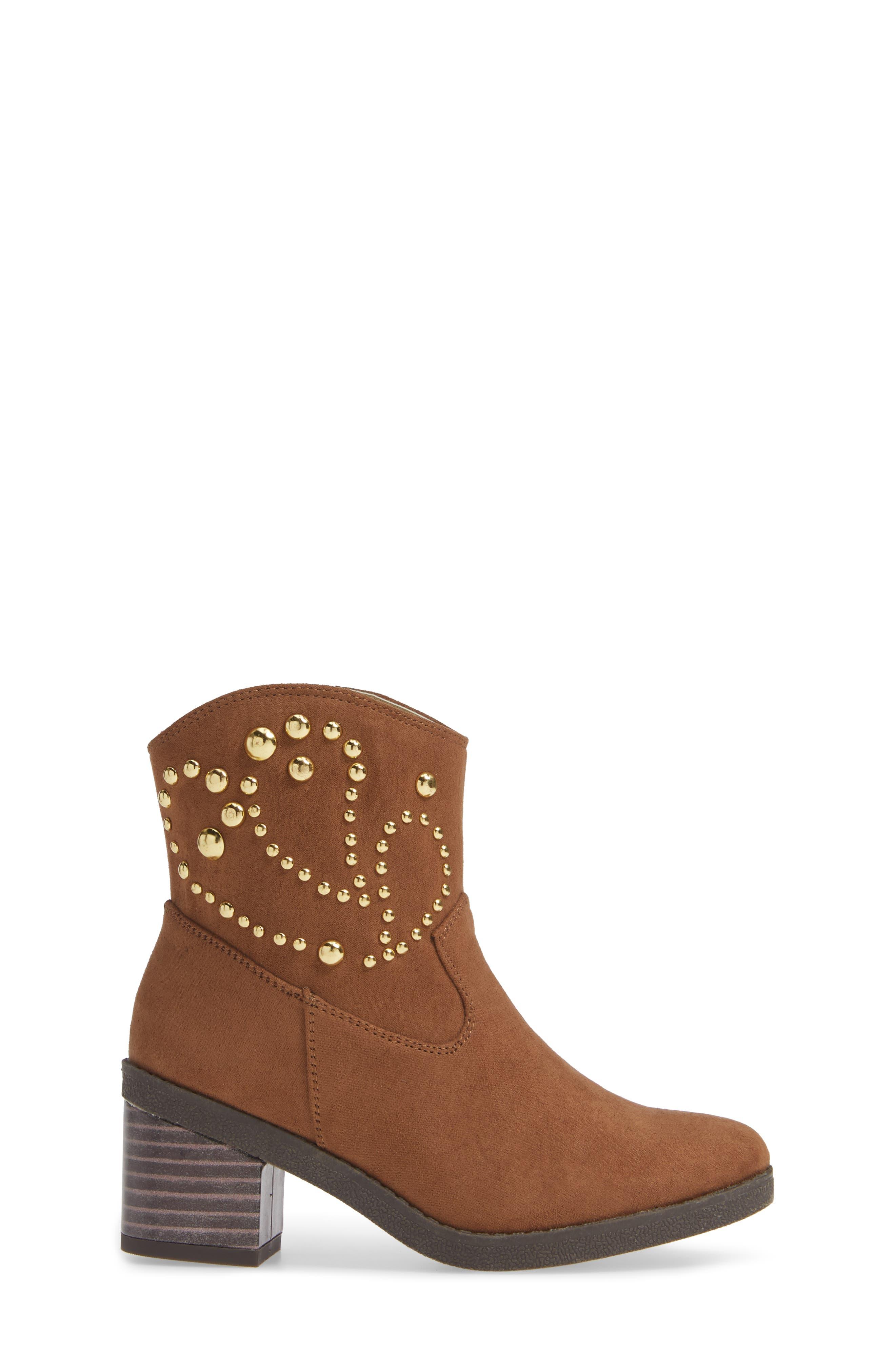 Fawn Desert Studded Boot,                             Alternate thumbnail 3, color,                             CARAMEL