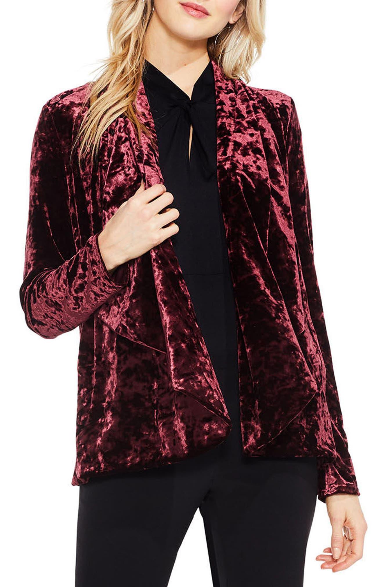 Velvet Drape Collar Jacket,                             Main thumbnail 2, color,