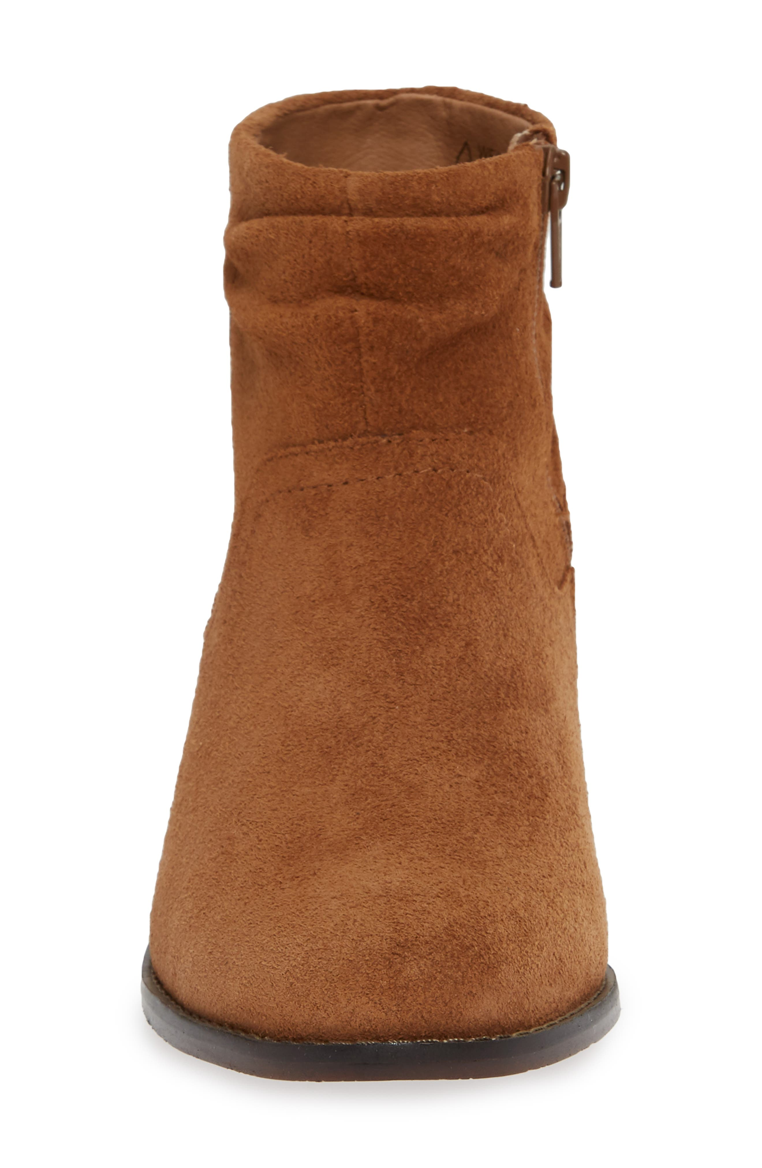 Kanela Low Slouchy Bootie,                             Alternate thumbnail 4, color,                             TOFFEE SUEDE