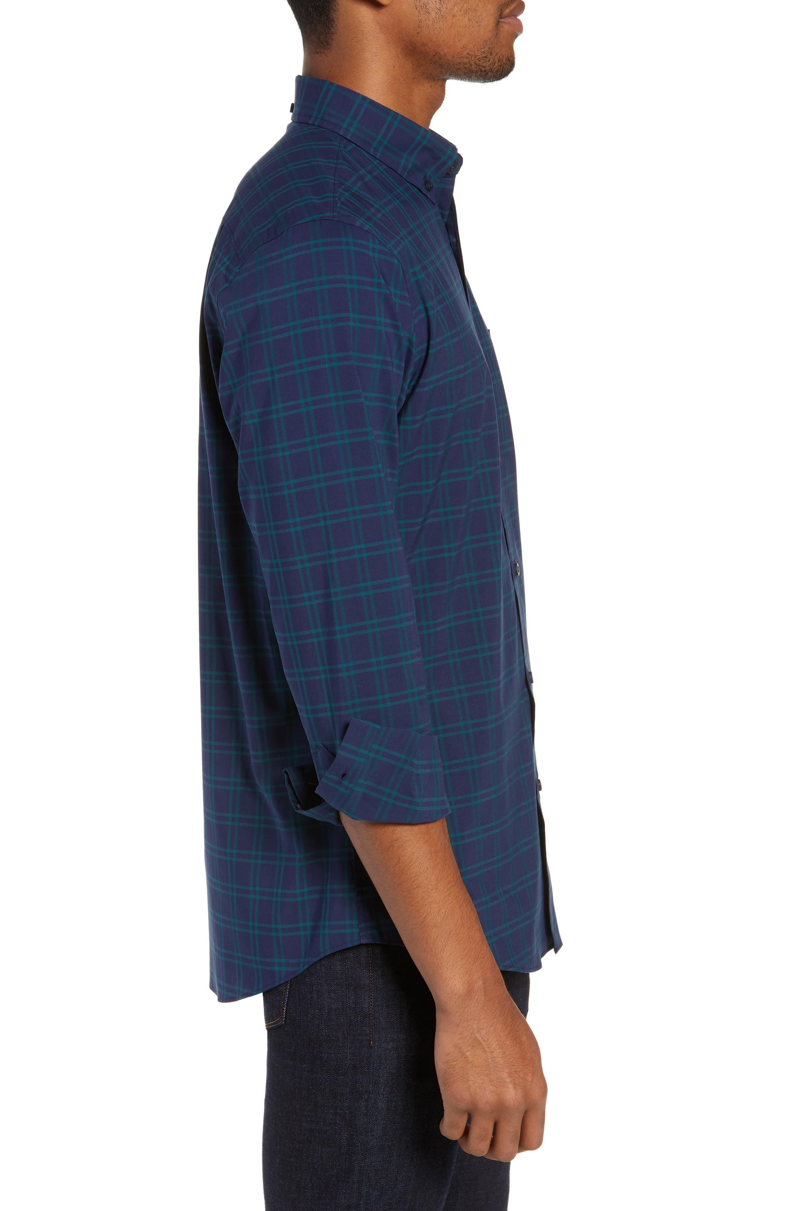 NORDSTROM MEN'S SHOP,                             Tech-Smart Slim Fit Check Sport Shirt,                             Alternate thumbnail 3, color,                             NAVY IRIS TEAL WINDOWPANE