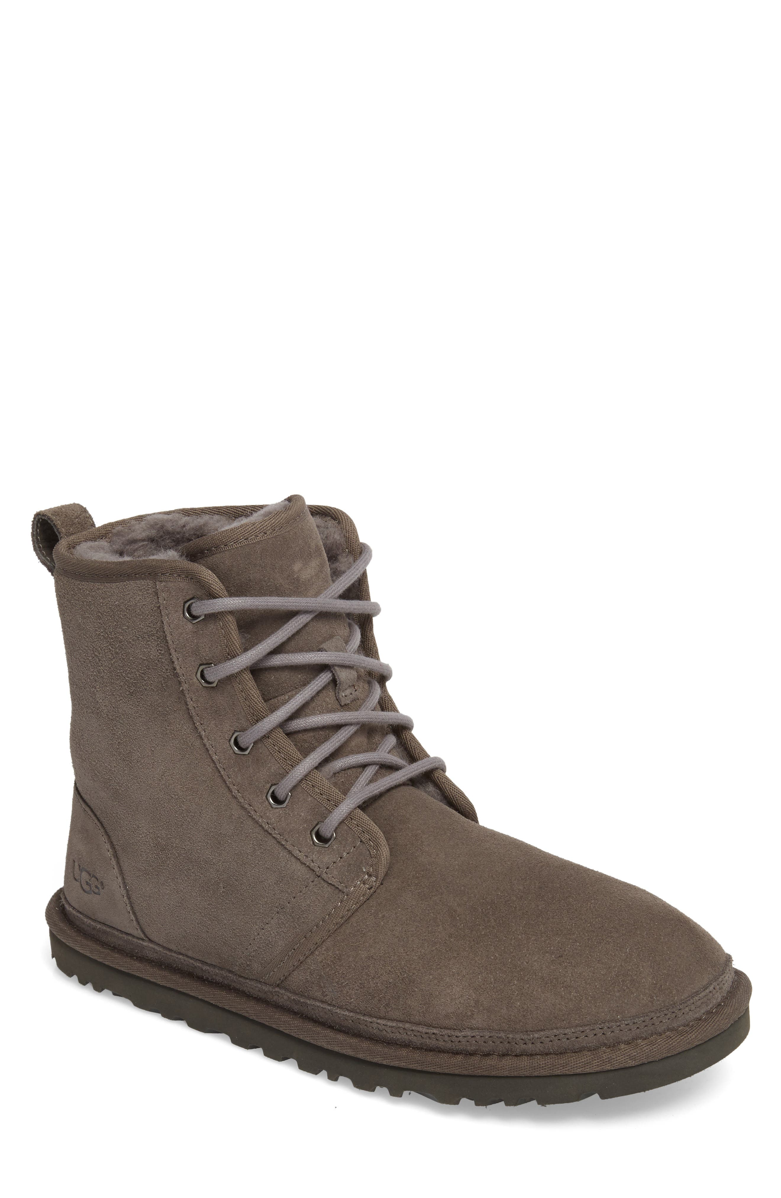 Harkley Lace-Up Boot,                         Main,                         color, CHARCOAL SUEDE