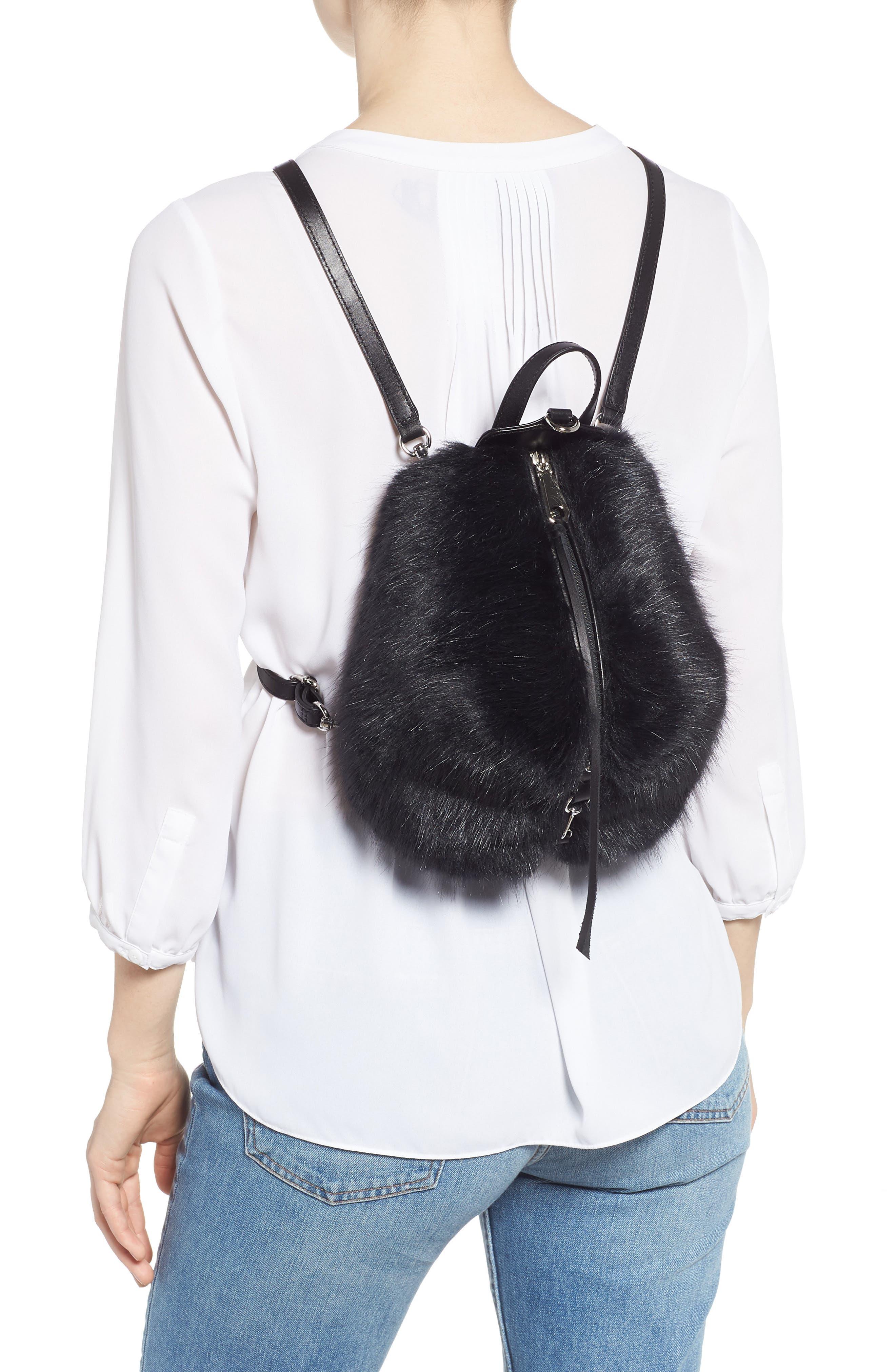 Mini Julian Faux Fur Backpack,                             Alternate thumbnail 2, color,                             BLACK