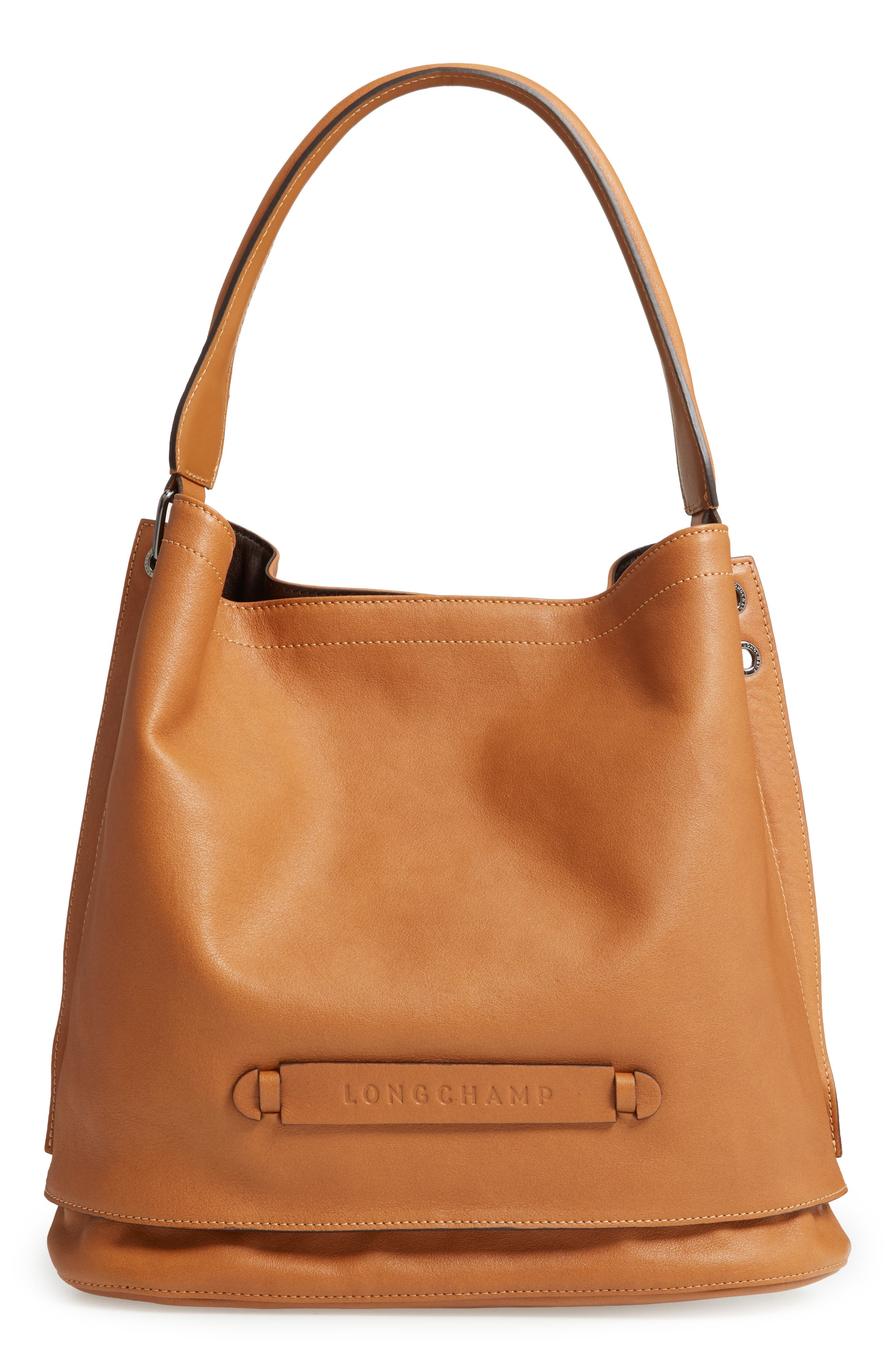 '3D' Leather Hobo,                             Main thumbnail 1, color,                             NATURAL
