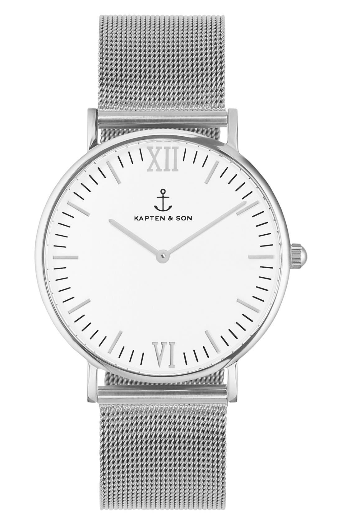 Campus Mesh Strap Watch, 40mm,                         Main,                         color, 040