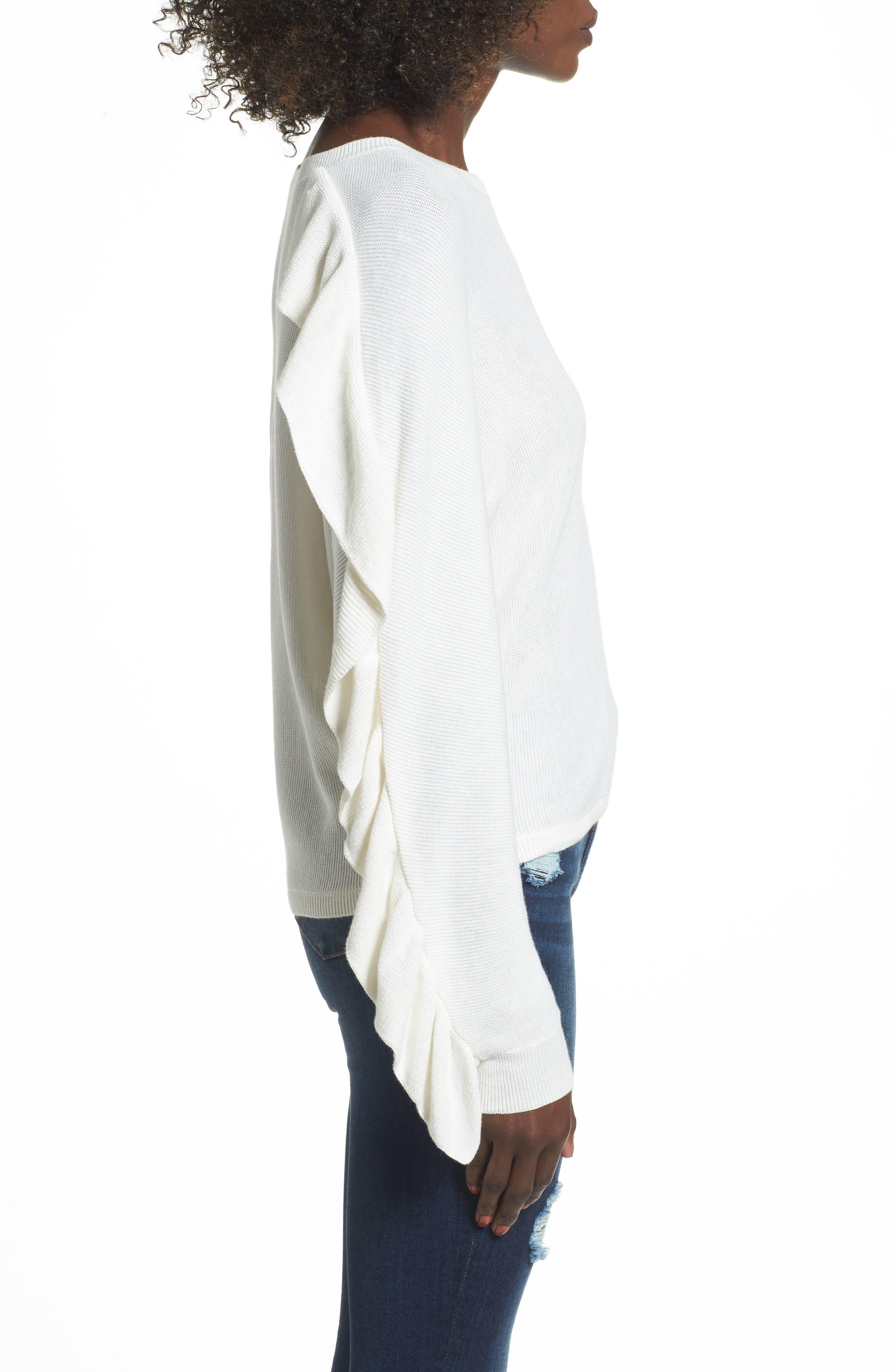 Ruffle Sleeve Sweater,                             Alternate thumbnail 12, color,