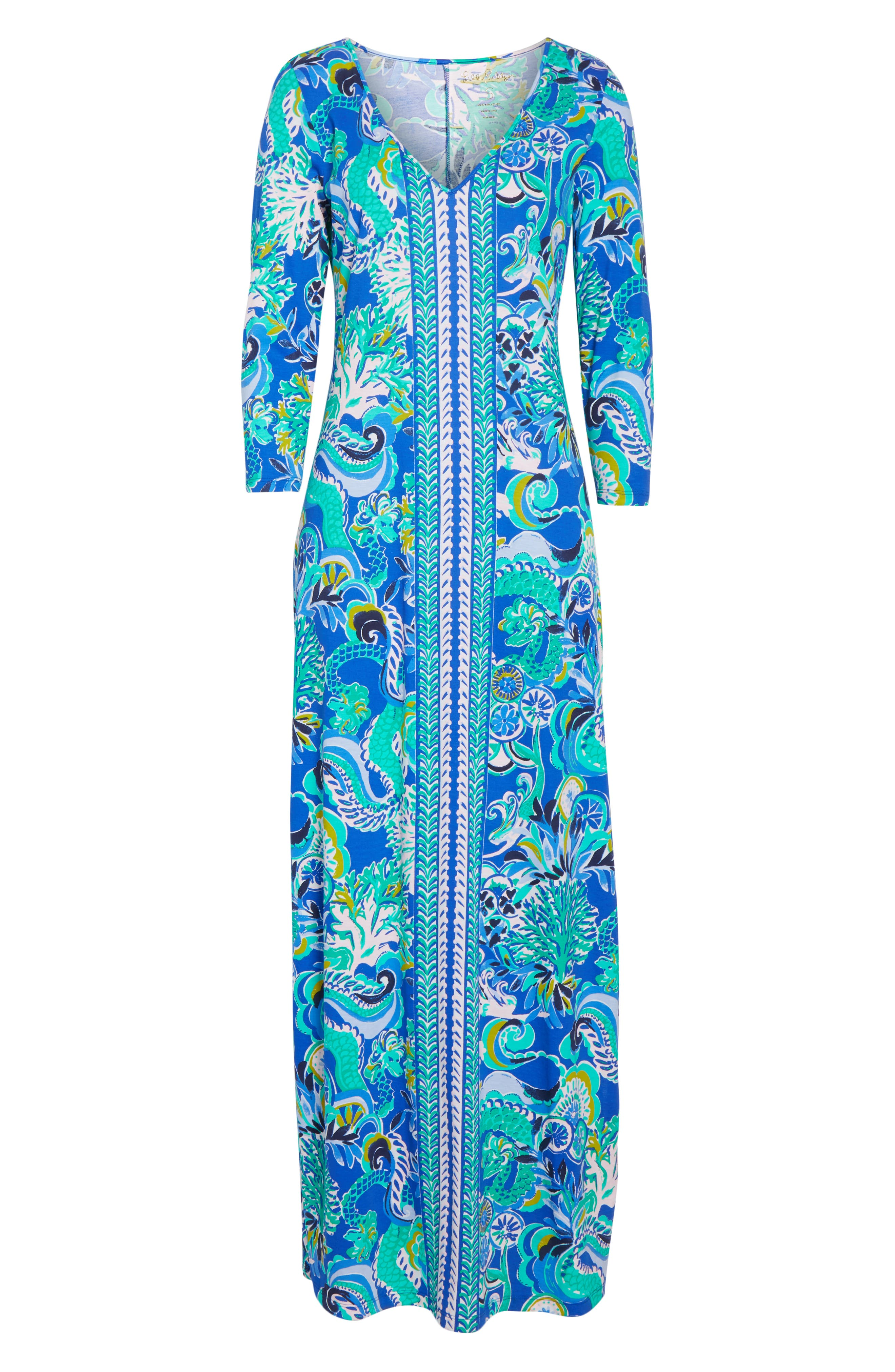Anissa Maxi Dress,                             Alternate thumbnail 6, color,                             BLUE GROTTO SIRENS AND SPIRITS
