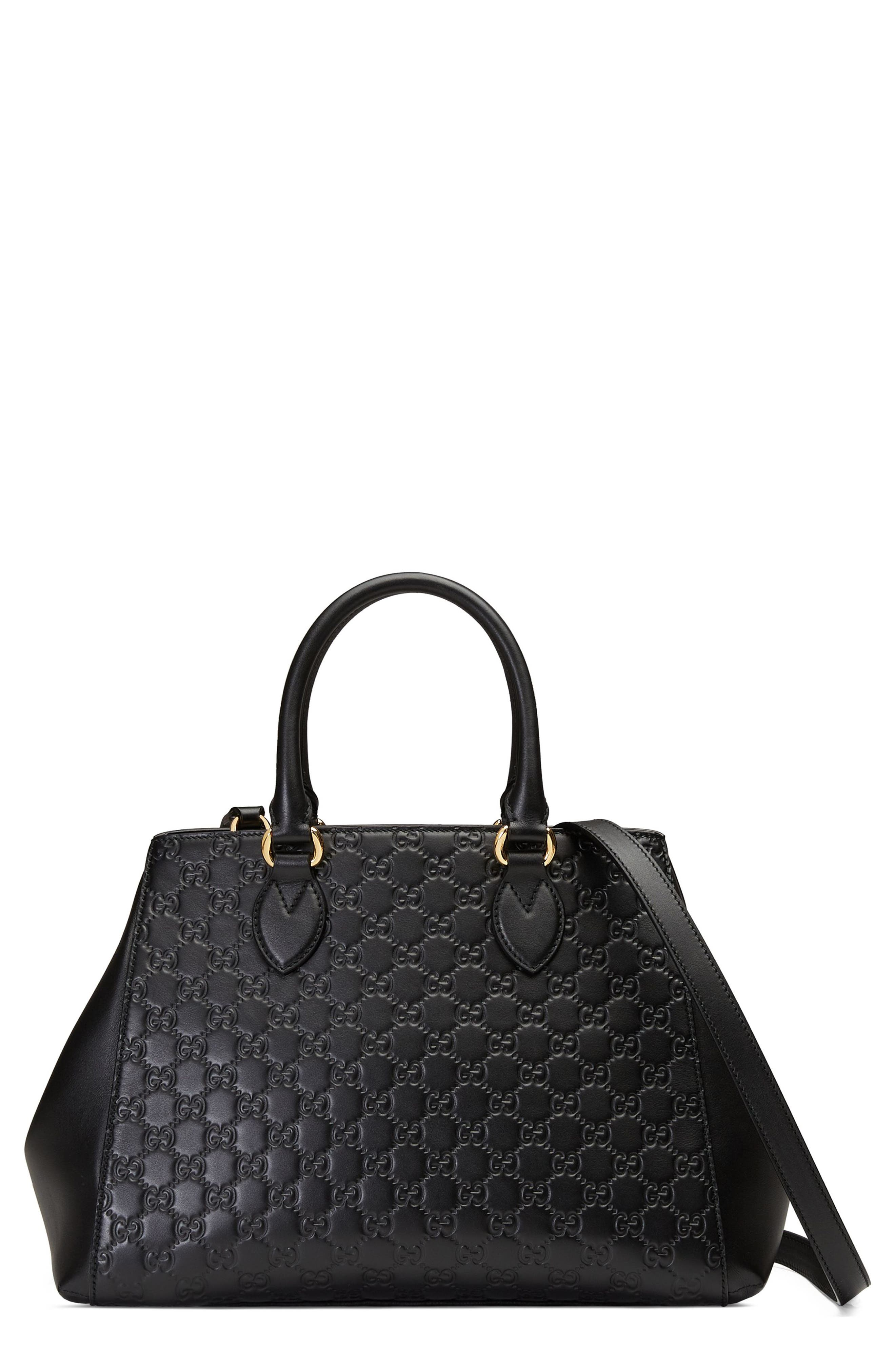 Large Top Handle Signature Soft Leather Tote, Main, color, 001