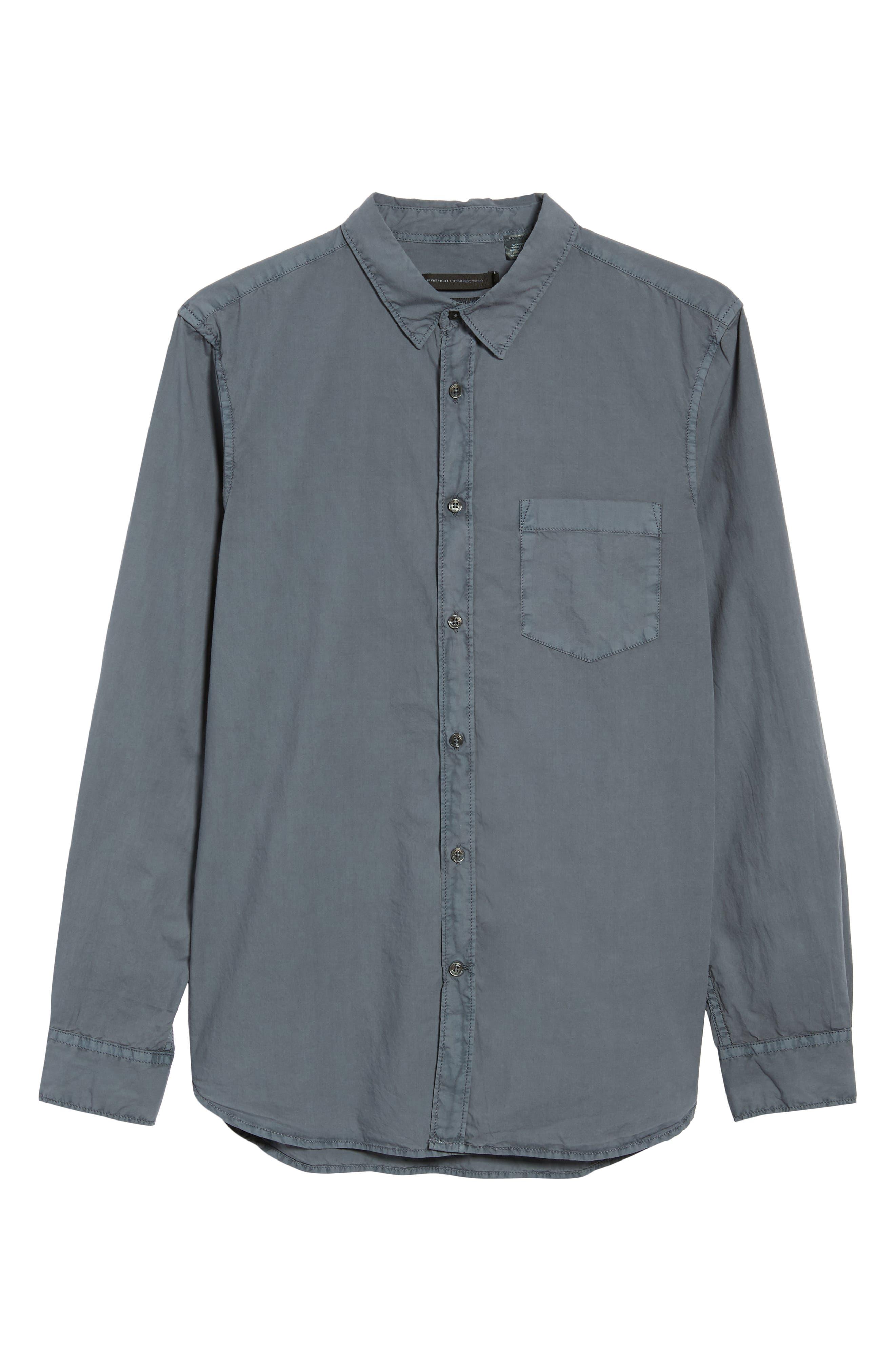 Overdyed Regular Fit Poplin Sport Shirt,                             Alternate thumbnail 5, color,                             RAF BLUE