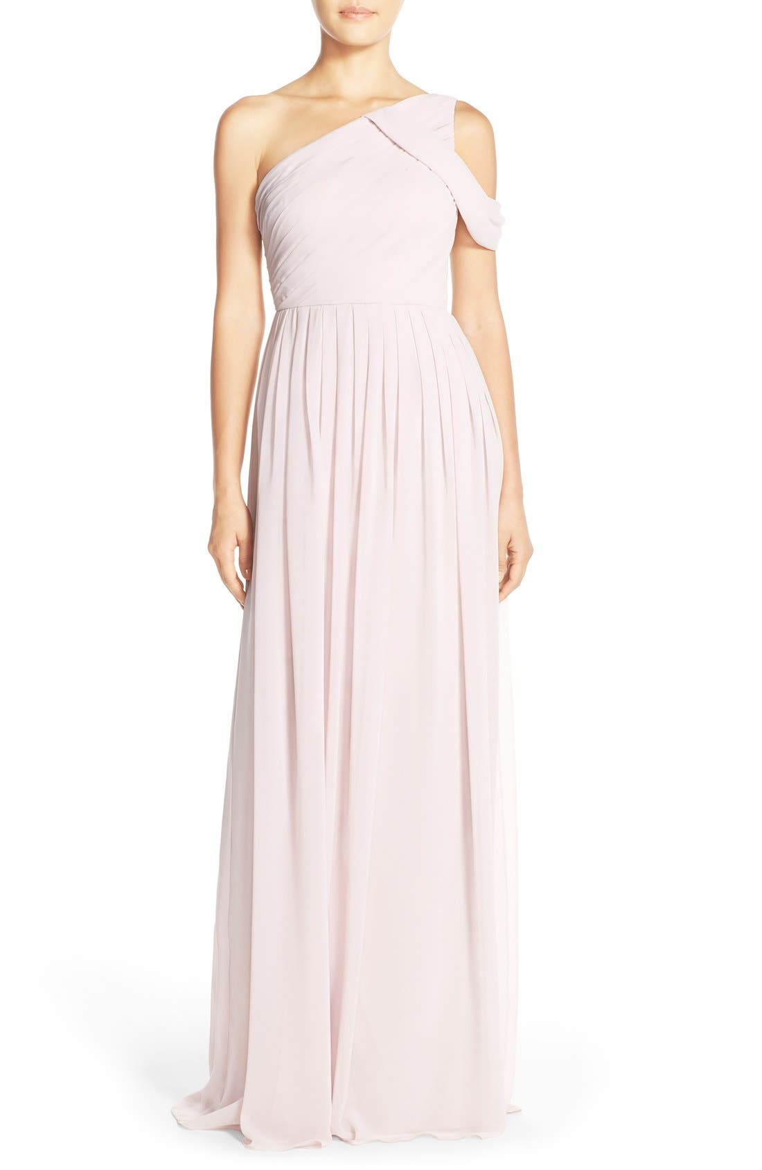 'Chloe' One-Shoulder Pleat Chiffon Gown,                             Main thumbnail 3, color,