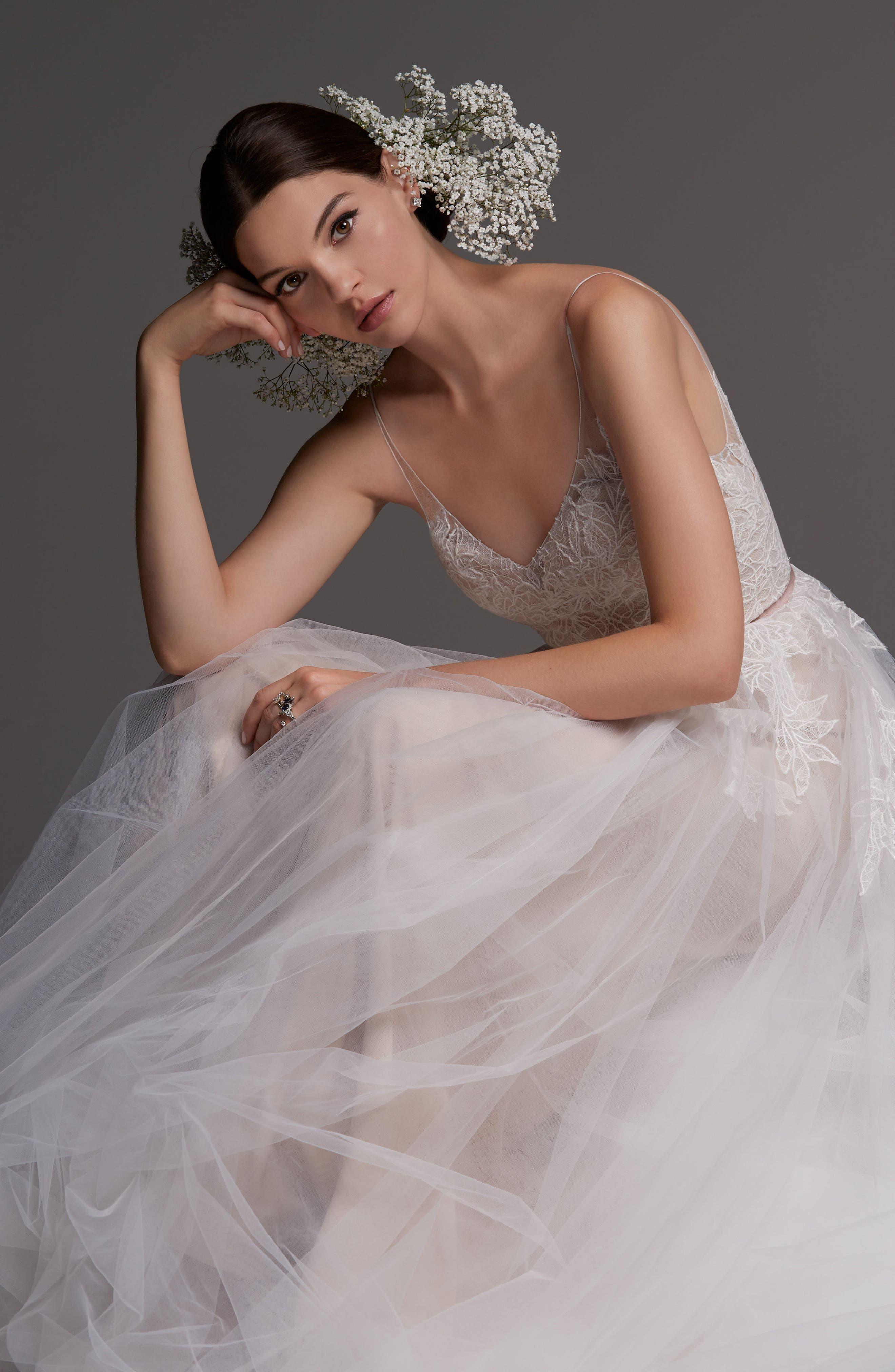 Avignon Lace & Tulle A-Line Gown,                             Alternate thumbnail 3, color,                             IVORY/ BLUSH/ ROSE QUARTZ