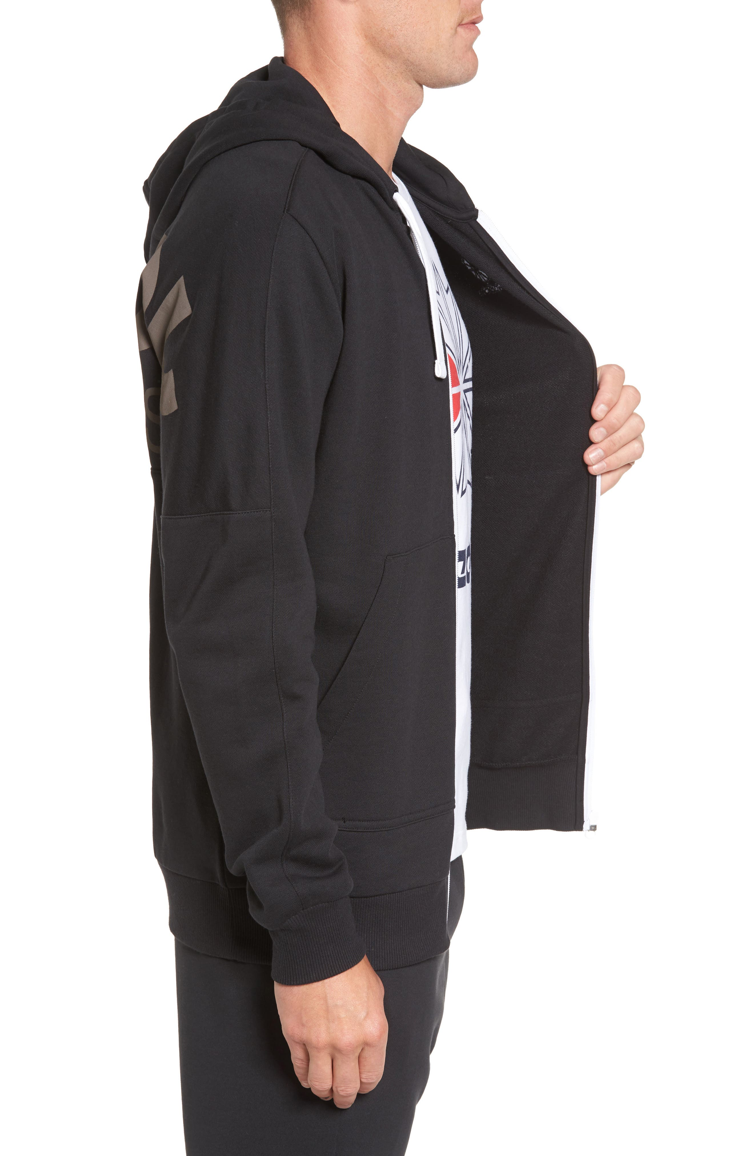 Classic Graphic Zip Hoodie,                             Alternate thumbnail 5, color,
