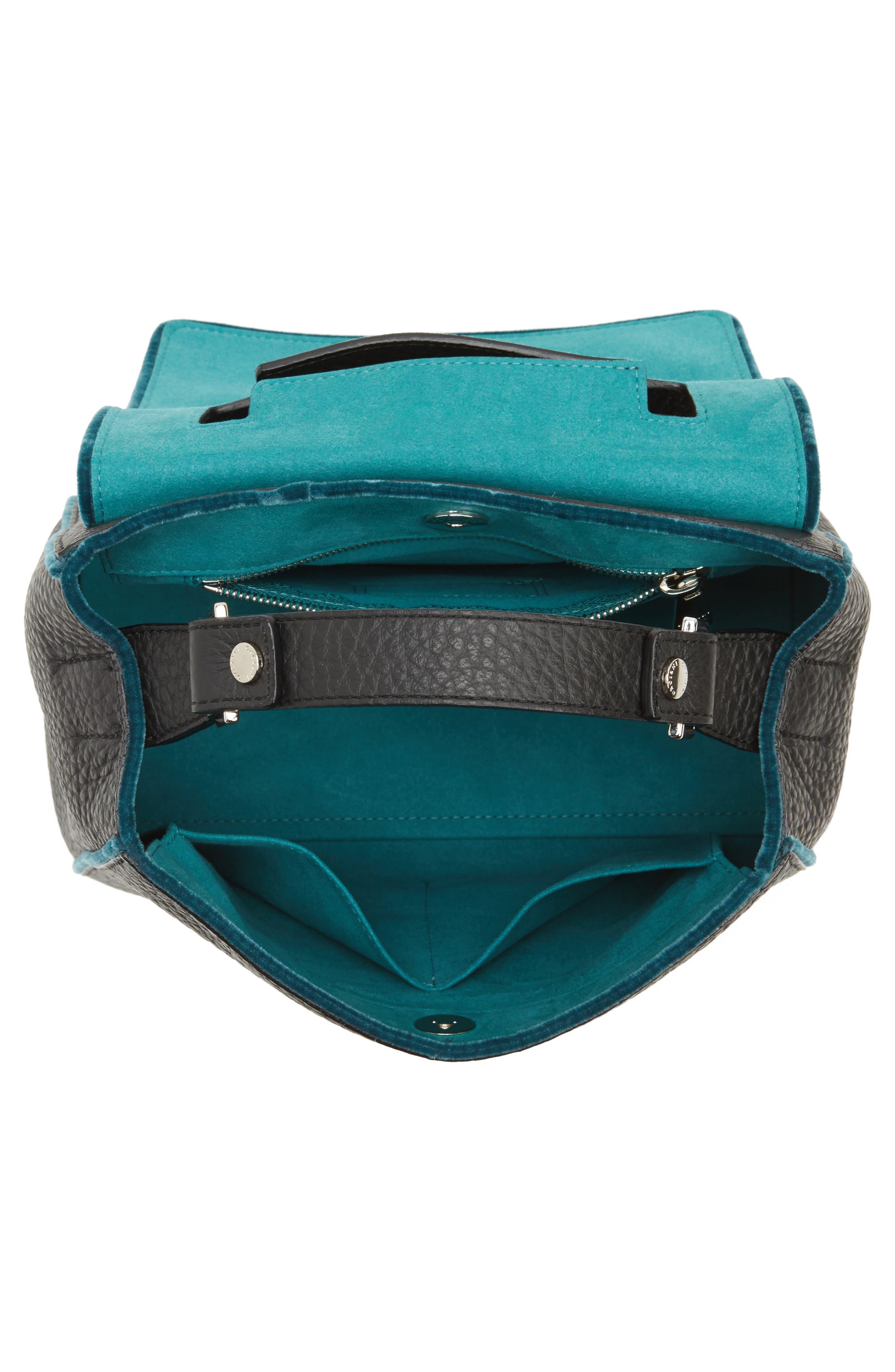 Small Sveva Soft Leather Top Handle Satchel with Genuine Fur Bag Charm,                             Alternate thumbnail 4, color,                             300