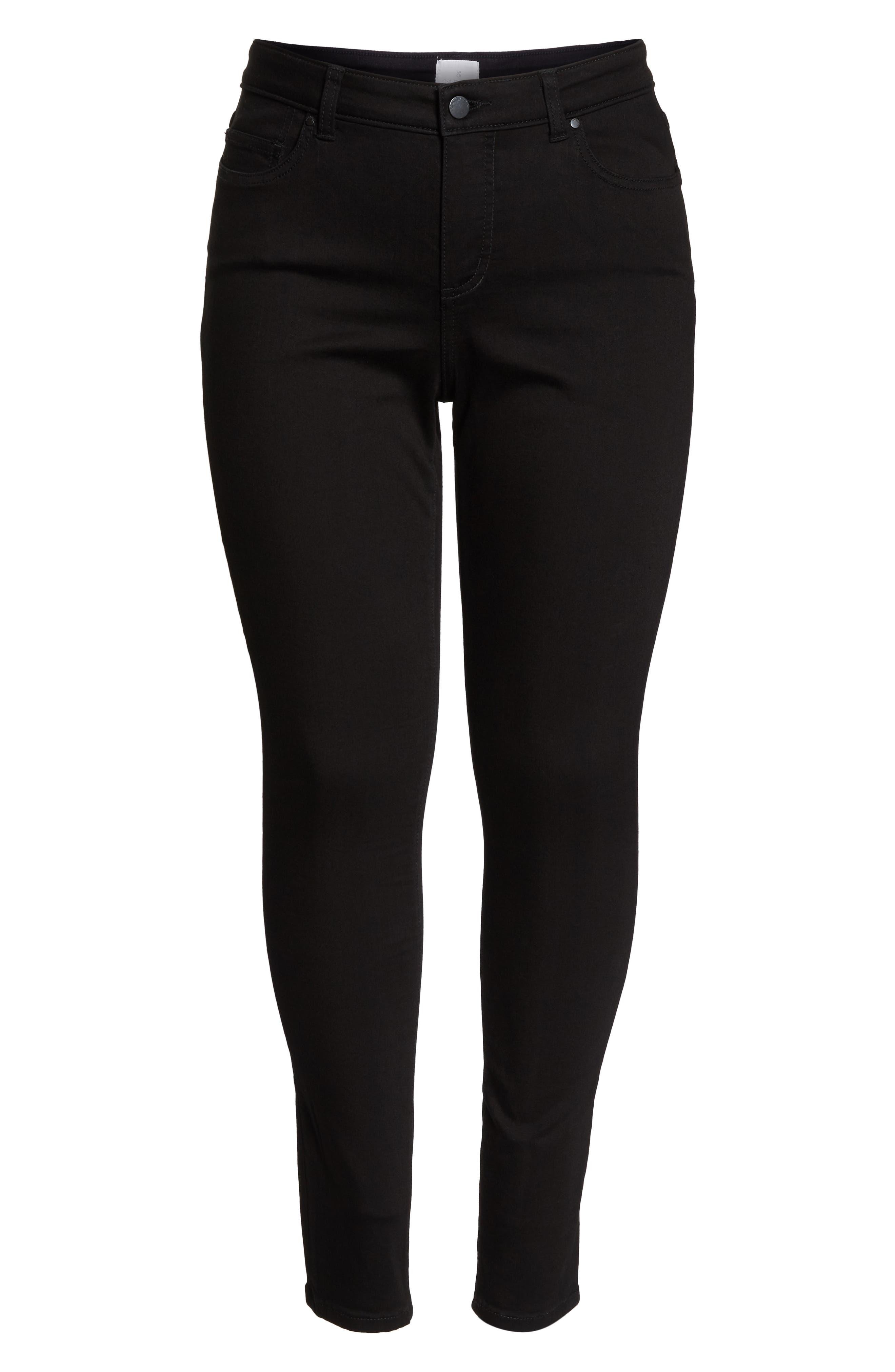 Stretch Skinny Jeans,                             Alternate thumbnail 7, color,                             BLACK WASH