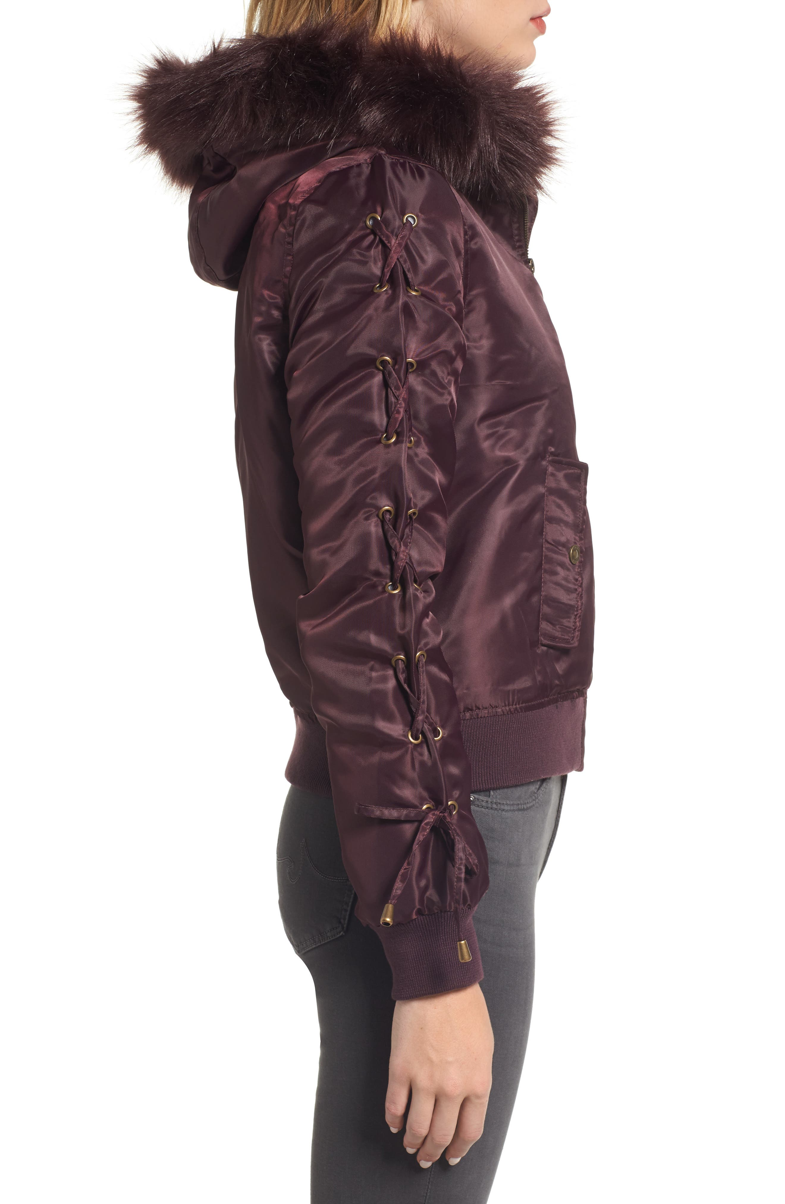 Lace-Up Sleeve Quilted Bomber Jacket,                             Alternate thumbnail 8, color,