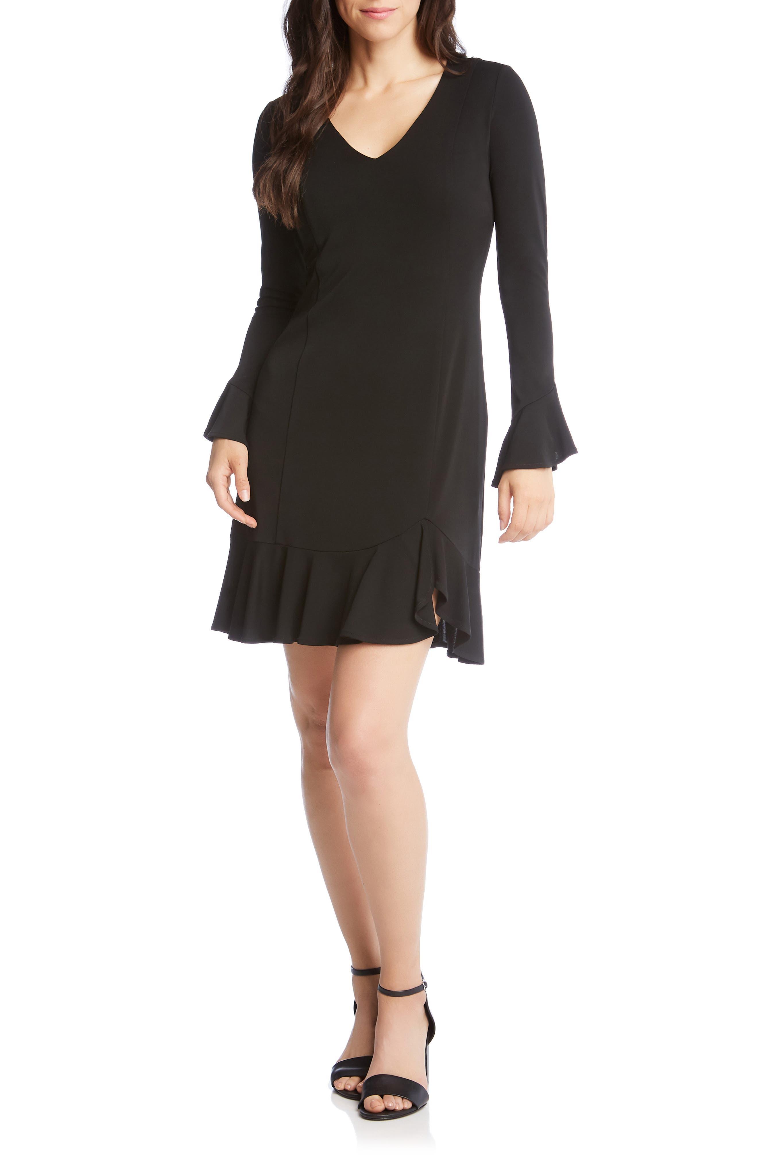 Karen Kane Sienna Ruffle Trim Dress, Black