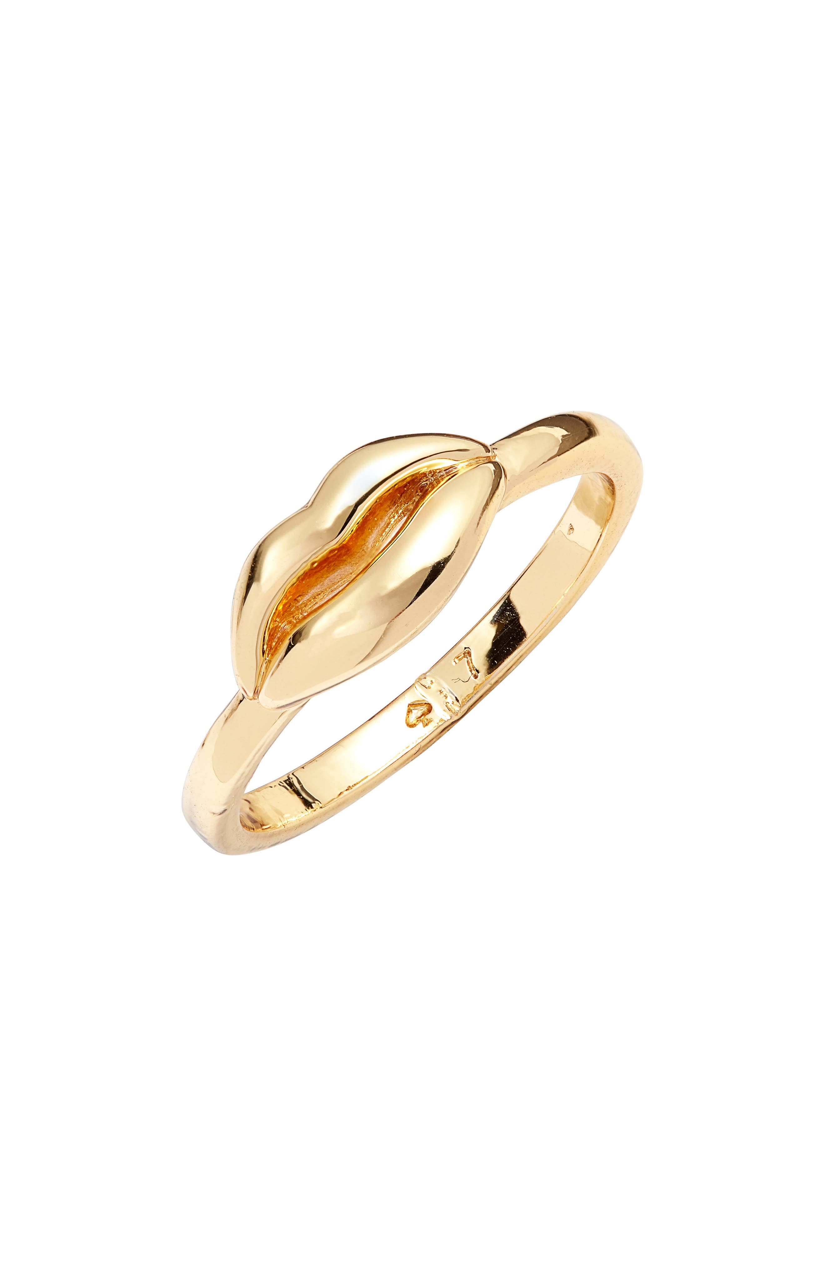 KATE SPADE NEW YORK lip statement ring, Main, color, GOLD