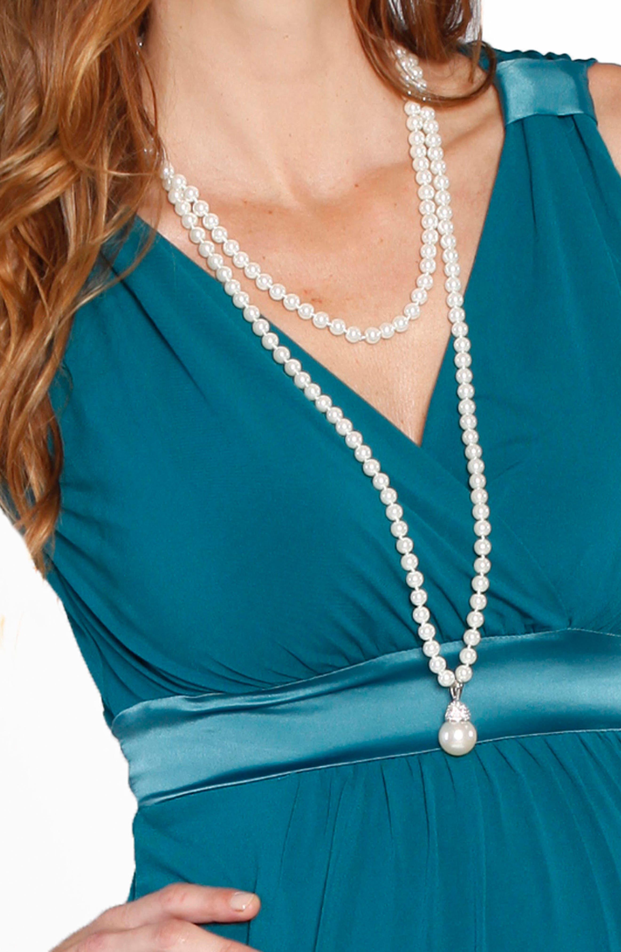 Angel Tie Waist Sleeveless Maternity/Nursing Gown & Bolero,                             Alternate thumbnail 4, color,                             440