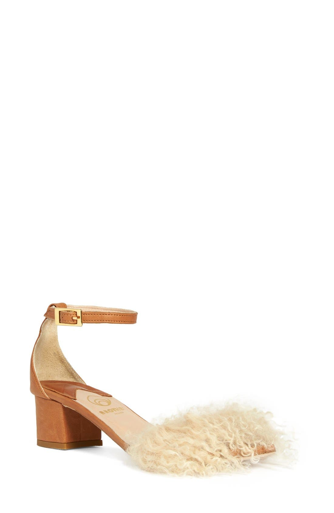 Tufted Dhara Genuine Shearling Ankle Strap Sandal,                             Main thumbnail 1, color,                             270