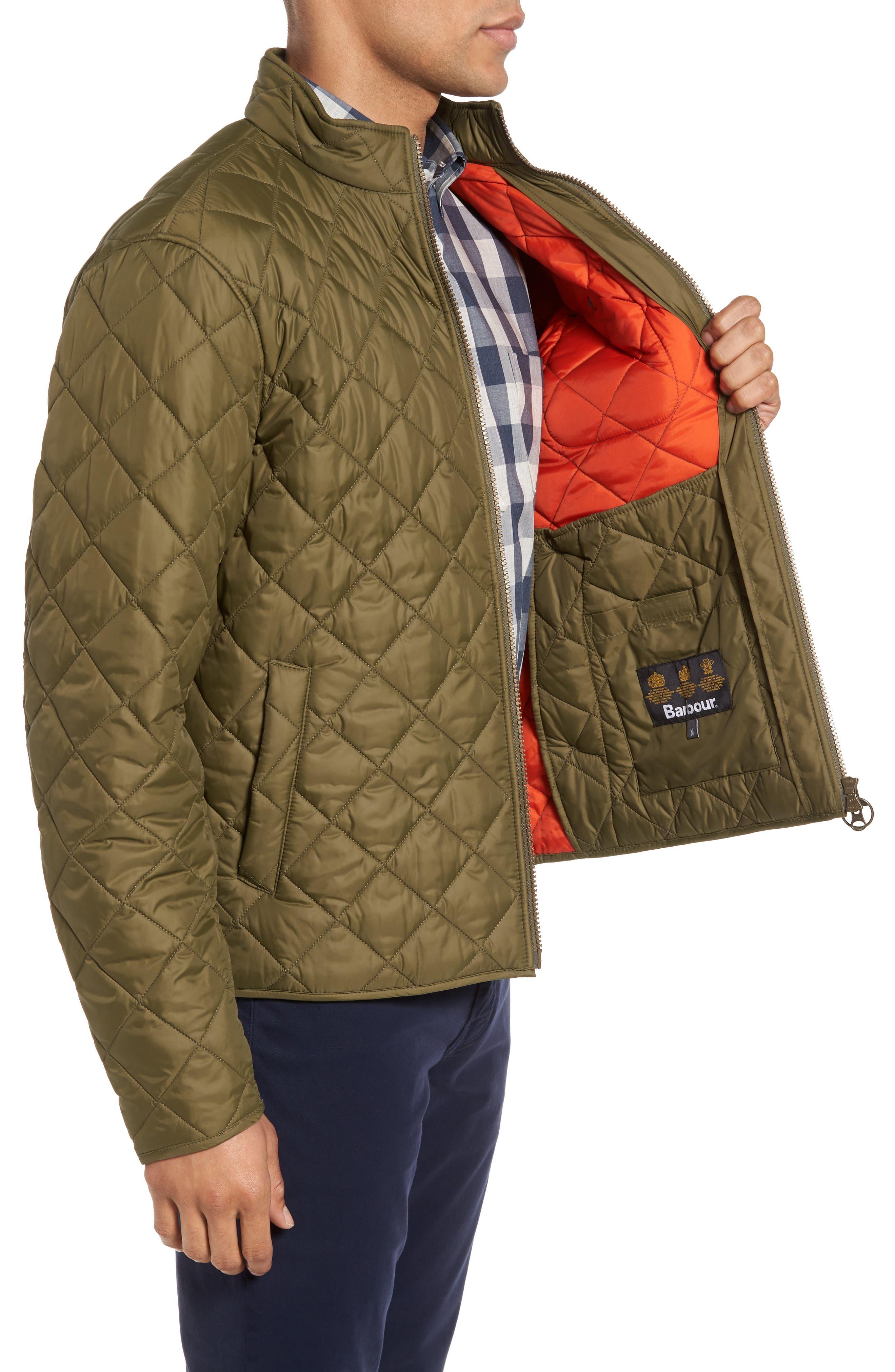 Pod Slim Fit Quilted Jacket,                             Alternate thumbnail 3, color,                             OLIVE