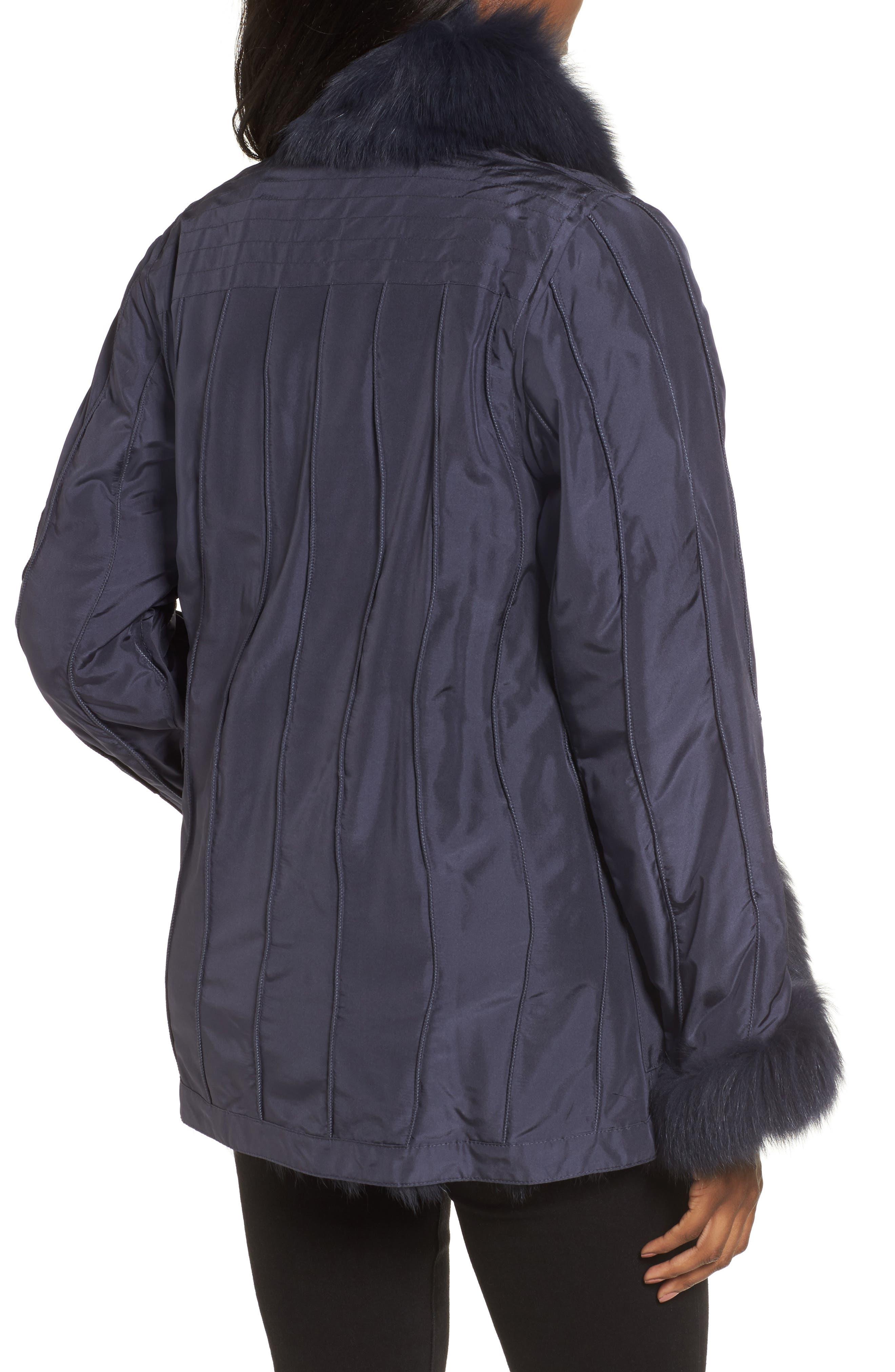 GeorgeSimonton Reversible Silk & Genuine Fox Fur Topper,                             Alternate thumbnail 7, color,