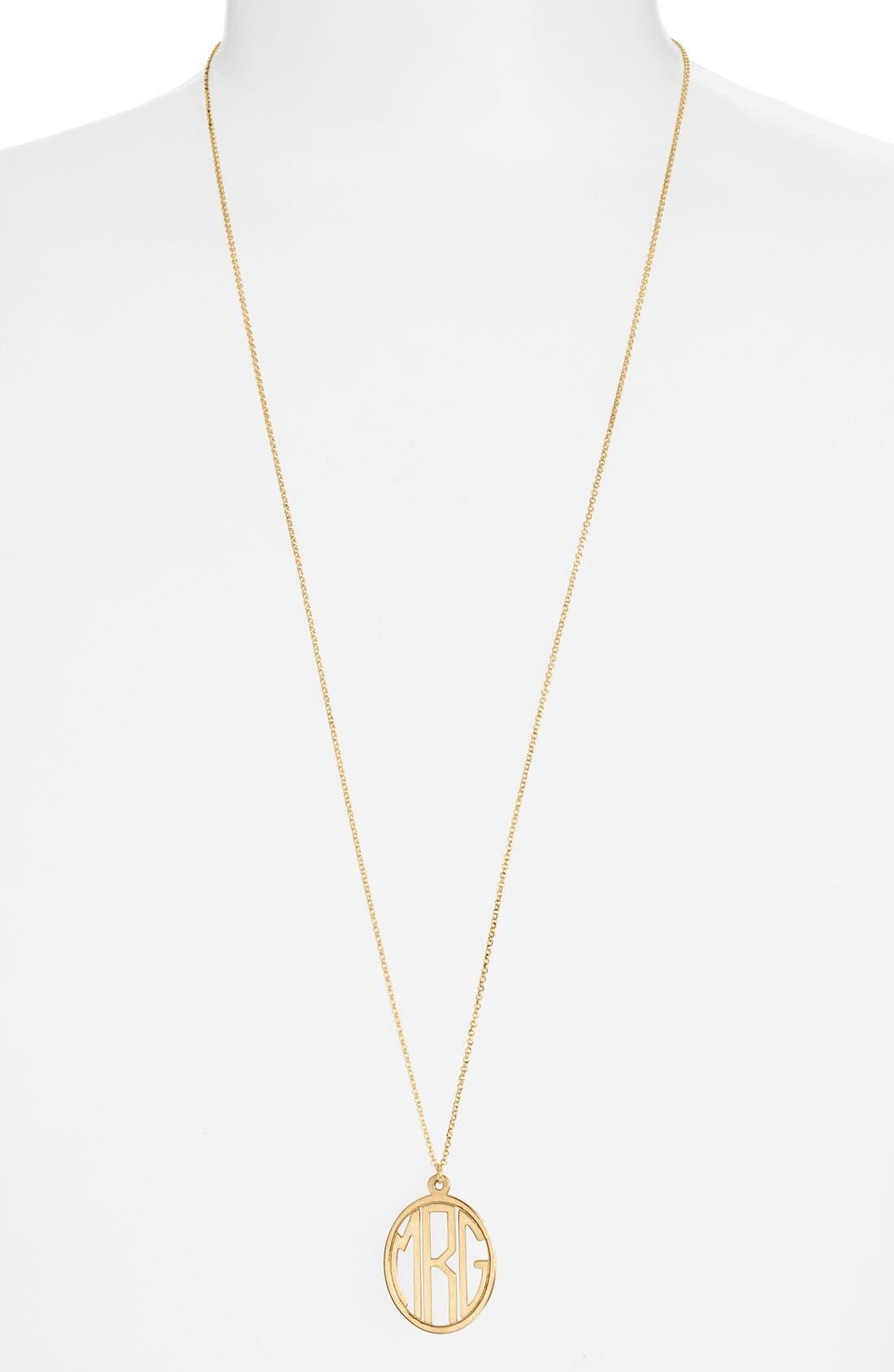 Personalized Monogram Pendant Necklace,                             Main thumbnail 1, color,                             GOLD