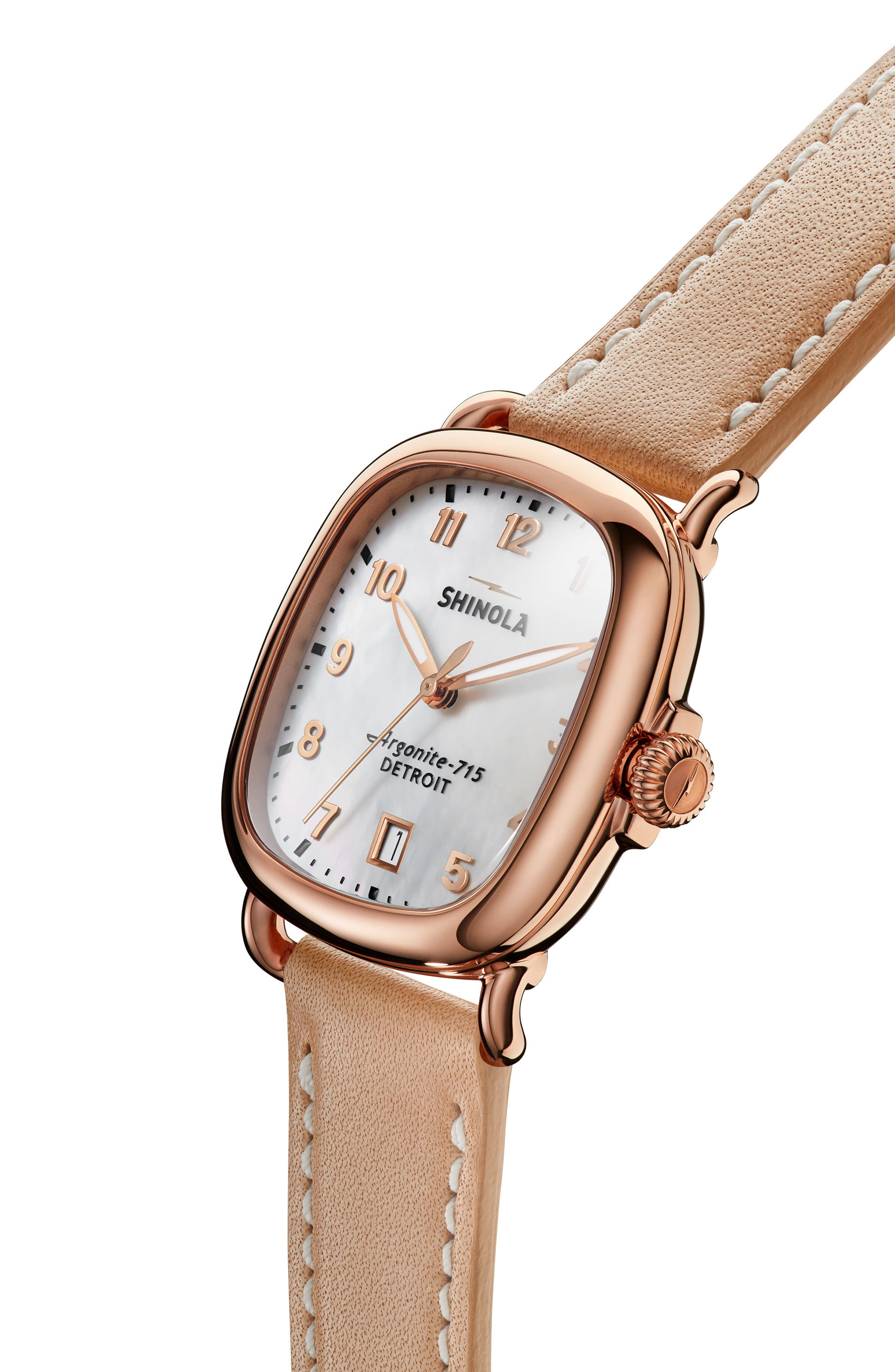 The Guardian Leather Strap Watch, 36mm,                             Alternate thumbnail 5, color,                             NATURAL/ MOP/ ROSE GOLD
