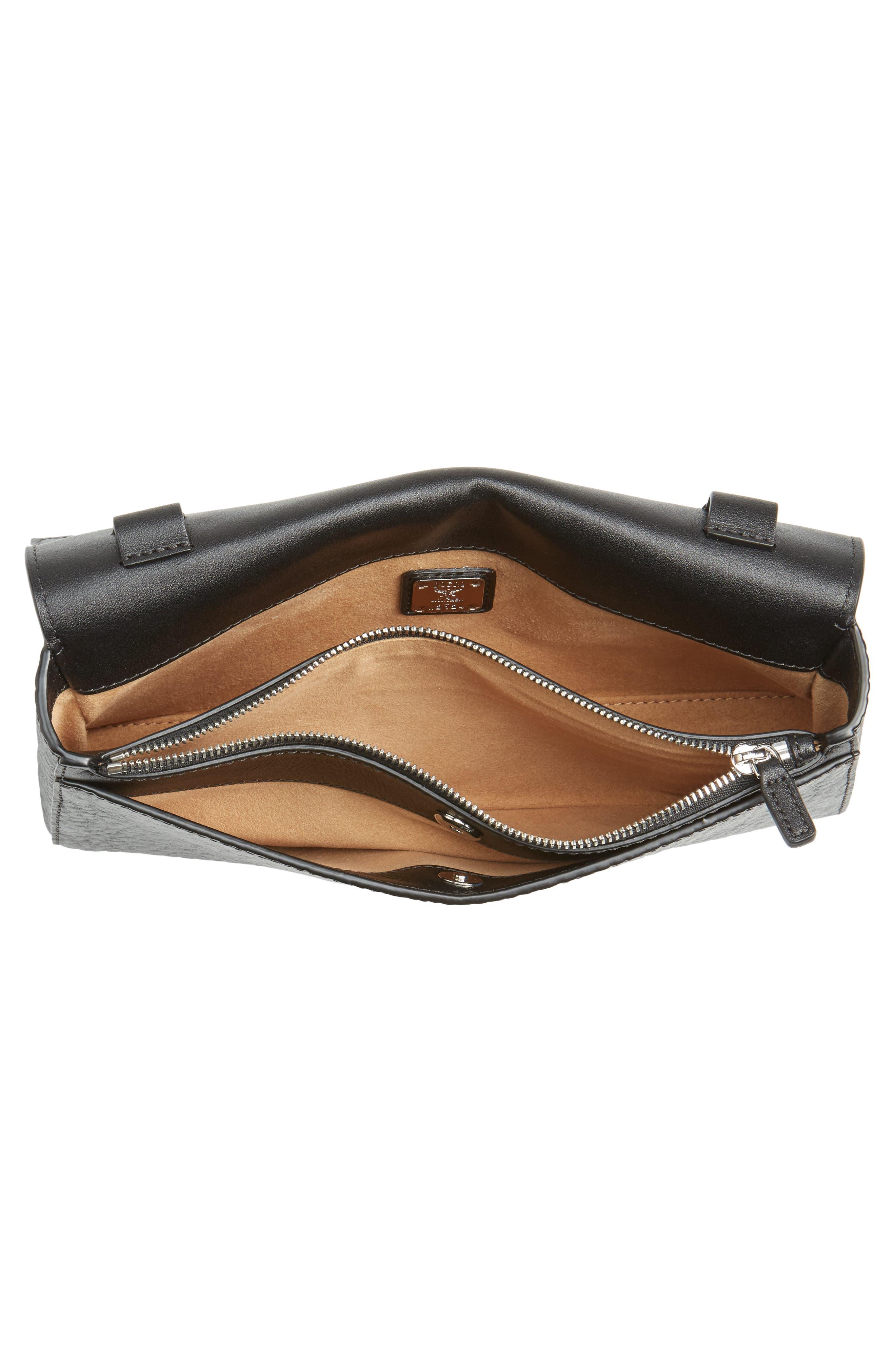 Millie Monogrammed Leather Crossbody Bag,                             Alternate thumbnail 4, color,                             001