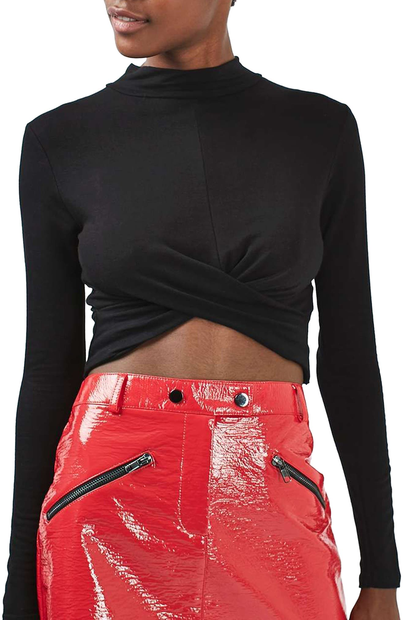 Twist Front Crop Top,                             Alternate thumbnail 2, color,                             001