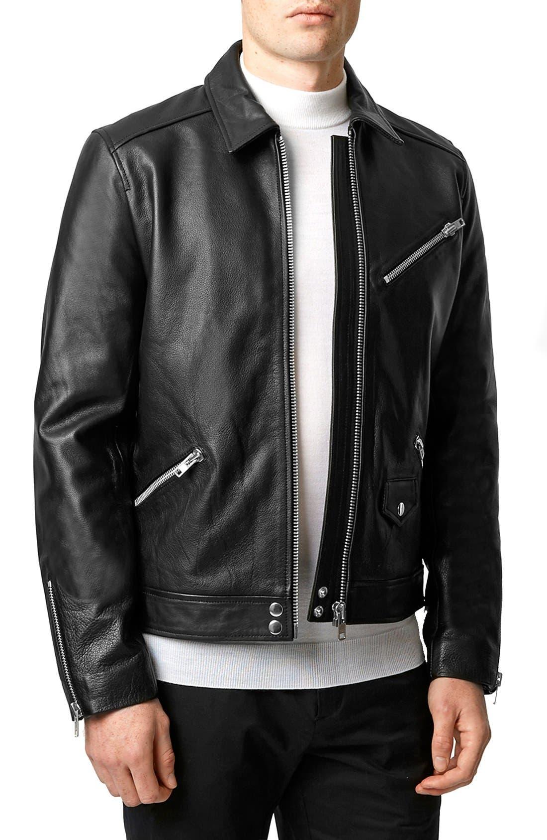 Black Leather Harrington Jacket,                             Main thumbnail 1, color,                             001