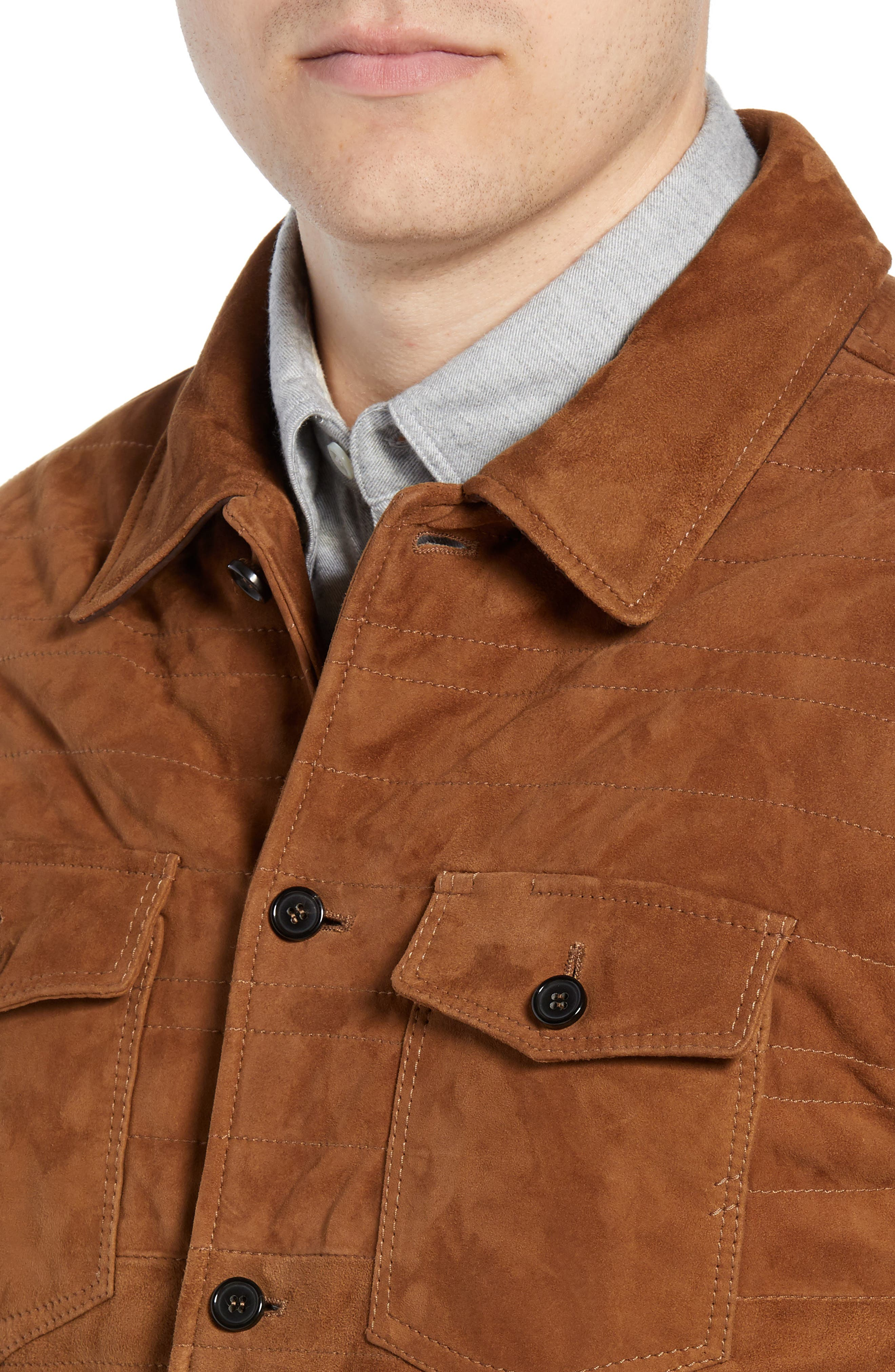 Regular Fit Quilted Suede Shirt Jacket,                             Alternate thumbnail 4, color,                             RUBBER